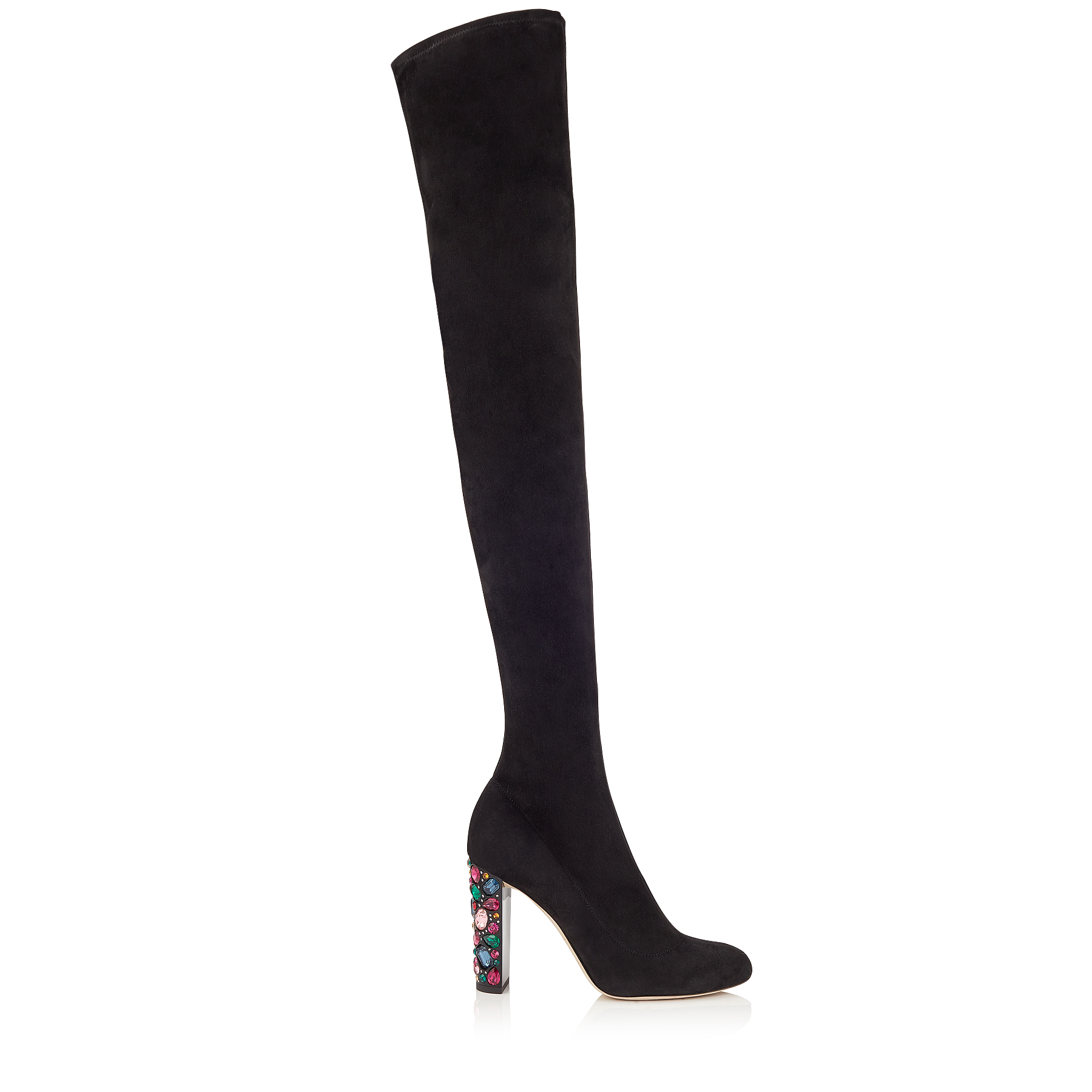MYA 100 Black Stretch Suede Over The Knee Boots with Embellished Heel by Jimmy Choo