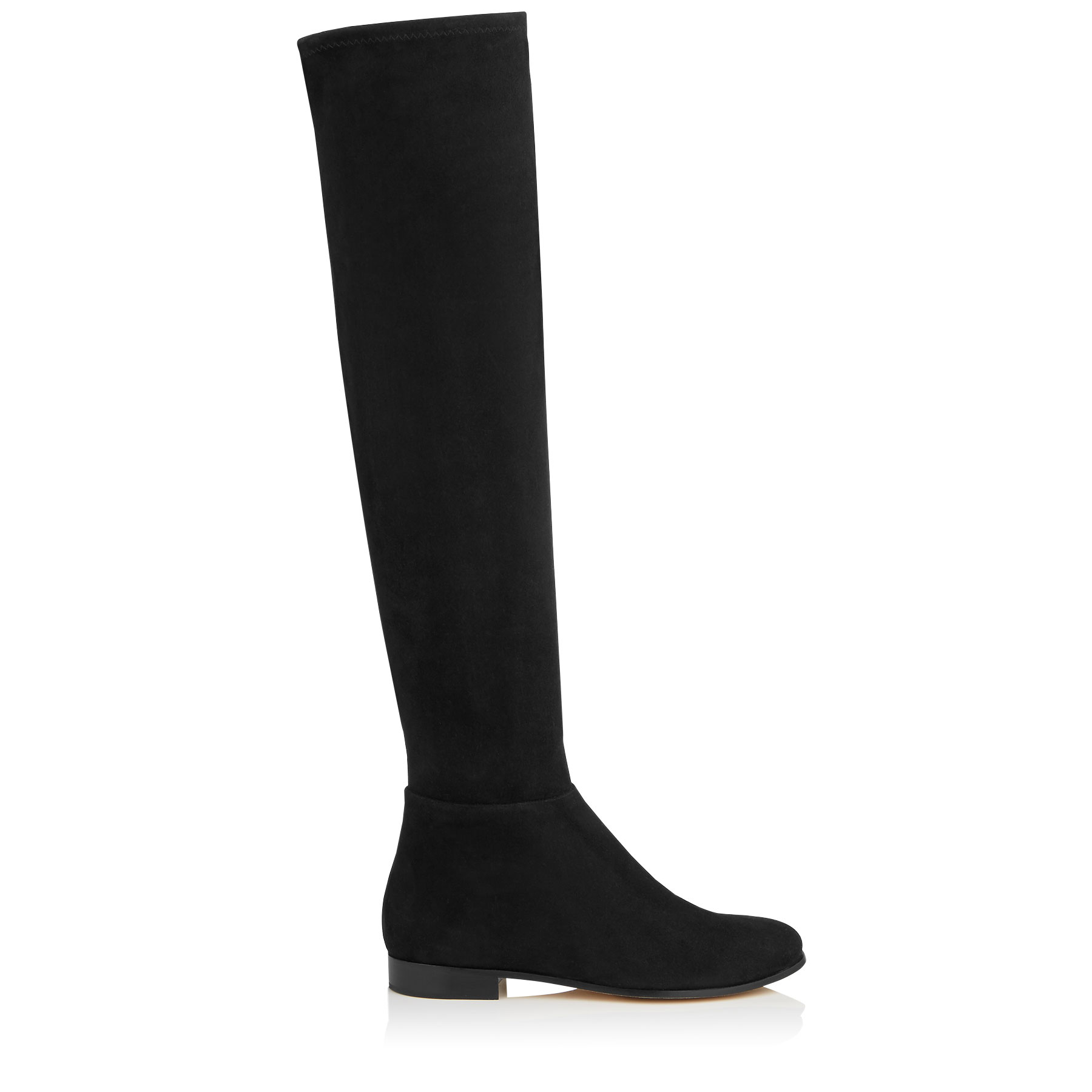 MYREN FLAT Black Stretch Suede and Suede Over the Knee Boots by Jimmy Choo