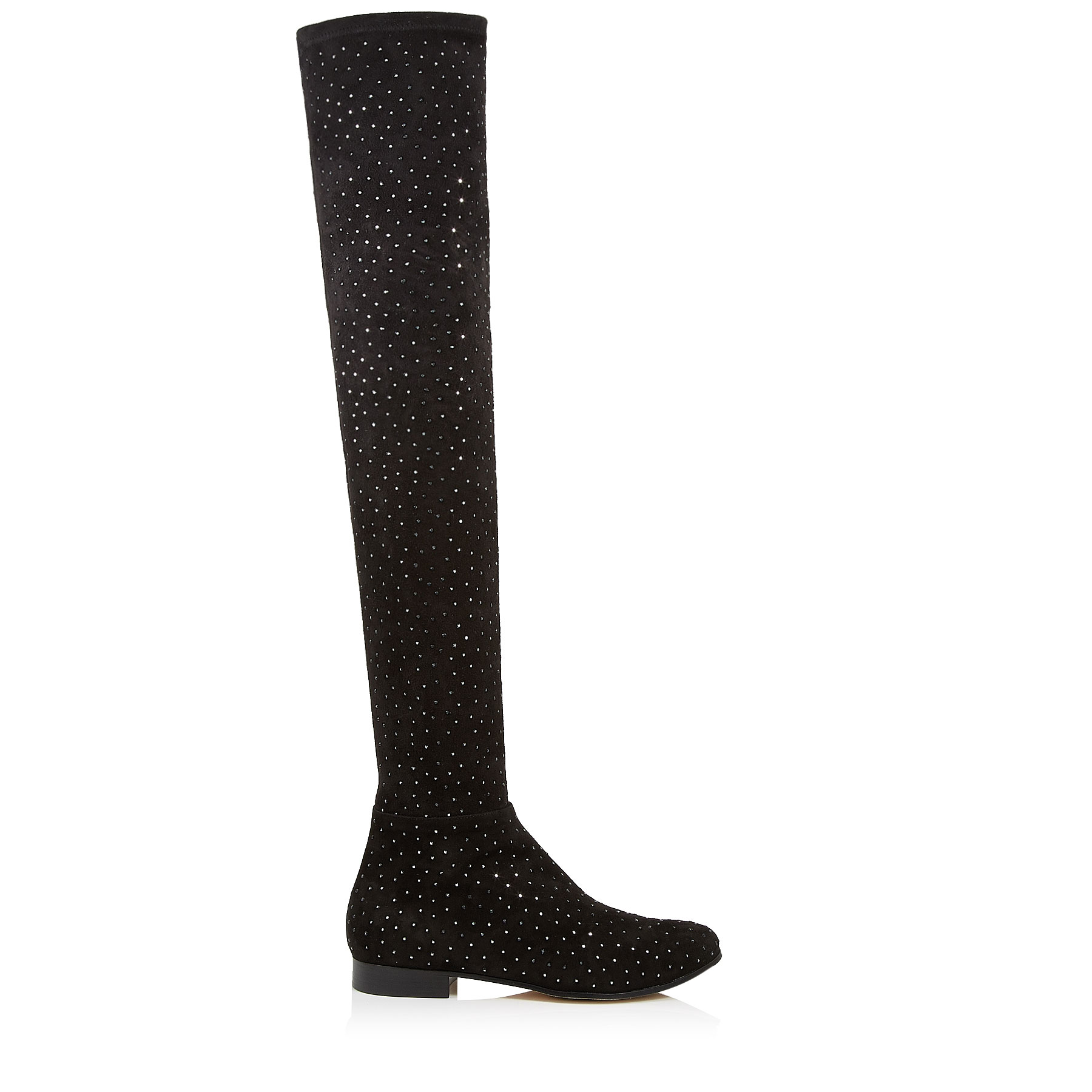 MYREN FLAT Black Strech Suede Over The Knee Boots with Scattered Crystals by Jimmy Choo