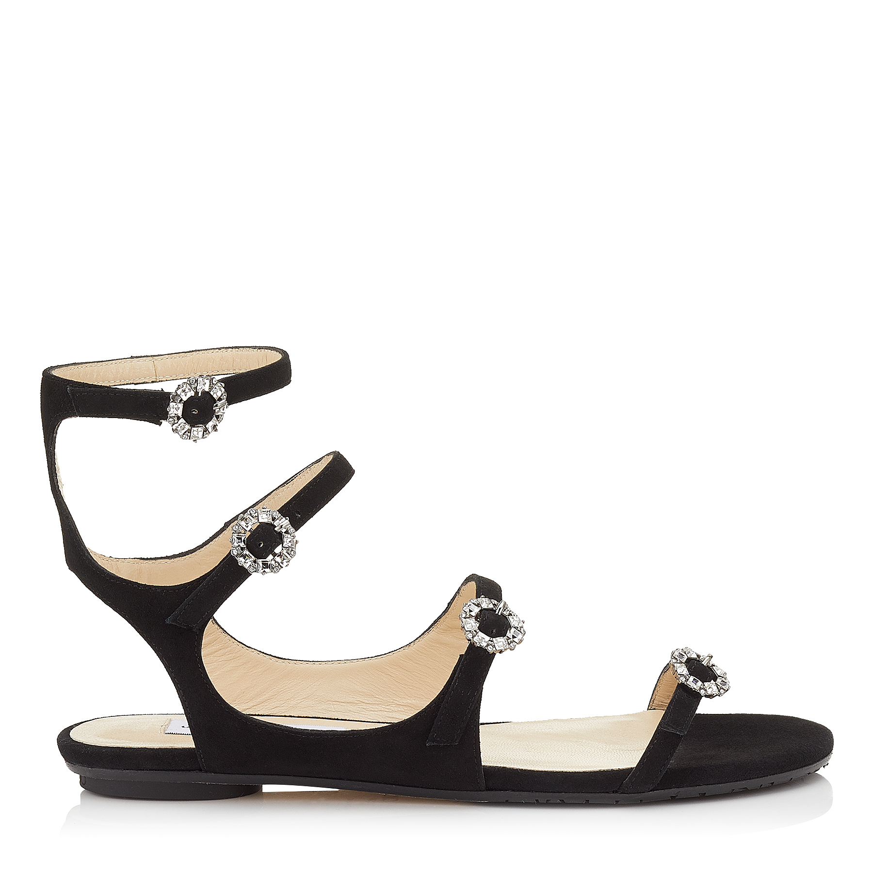 NAIA FLAT Black Suede Sandals with Swarovski Crystal Buckles by Jimmy Choo