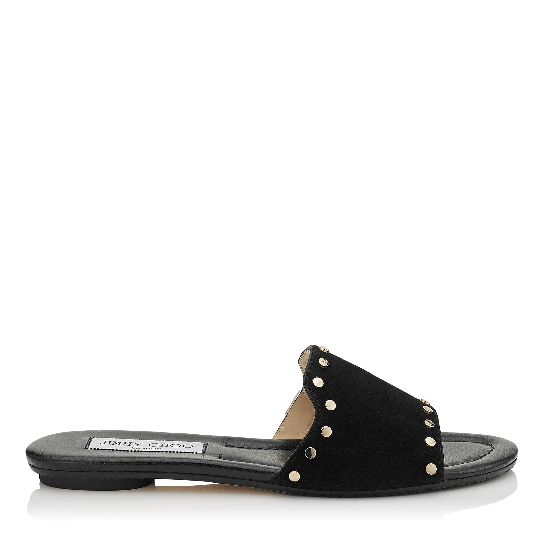 NANDA Black Suede Slides with Gold Studs by Jimmy Choo