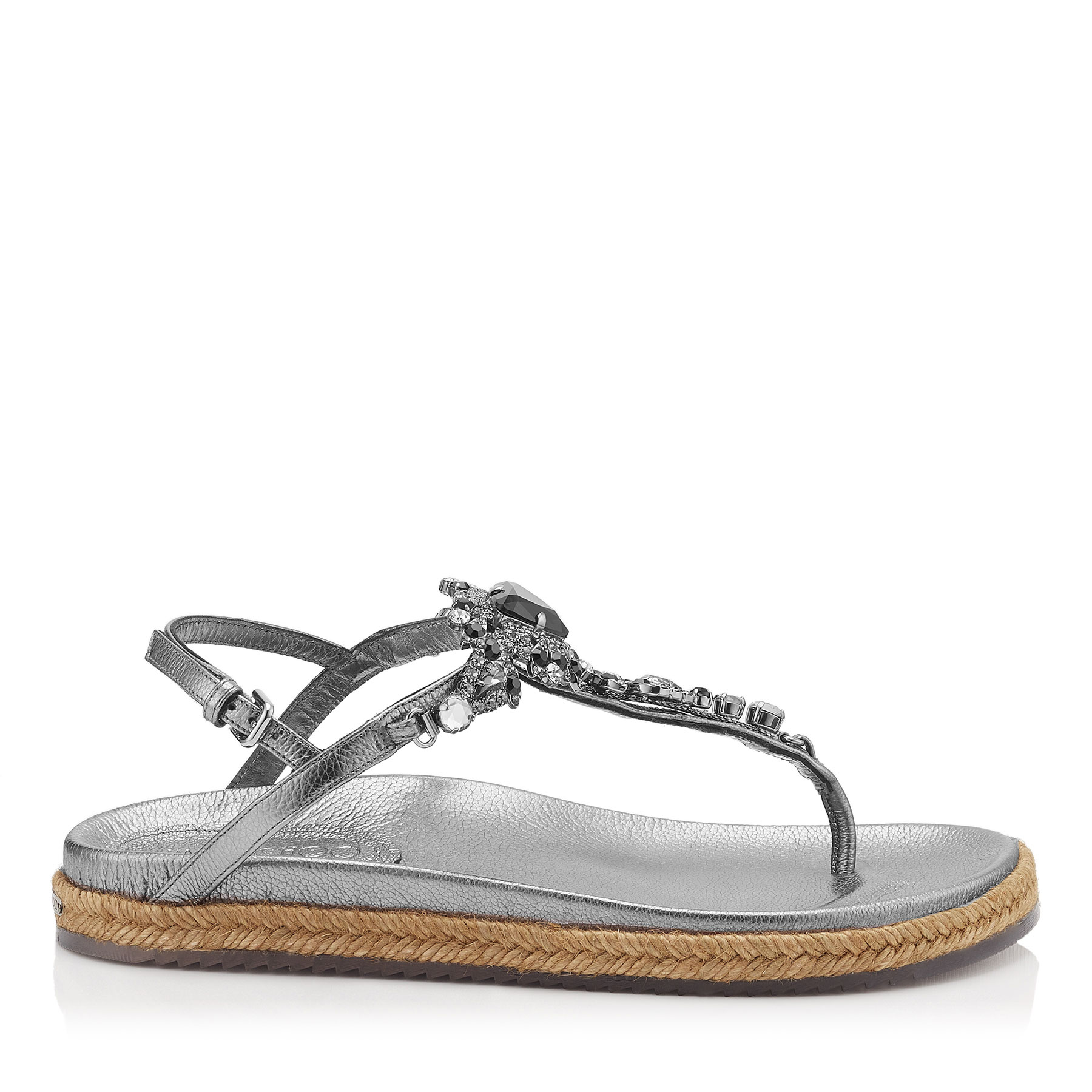 NEAL FLAT Steel Mix Metallic Grainy Leather Sandals with Jewel Piece by Jimmy Choo
