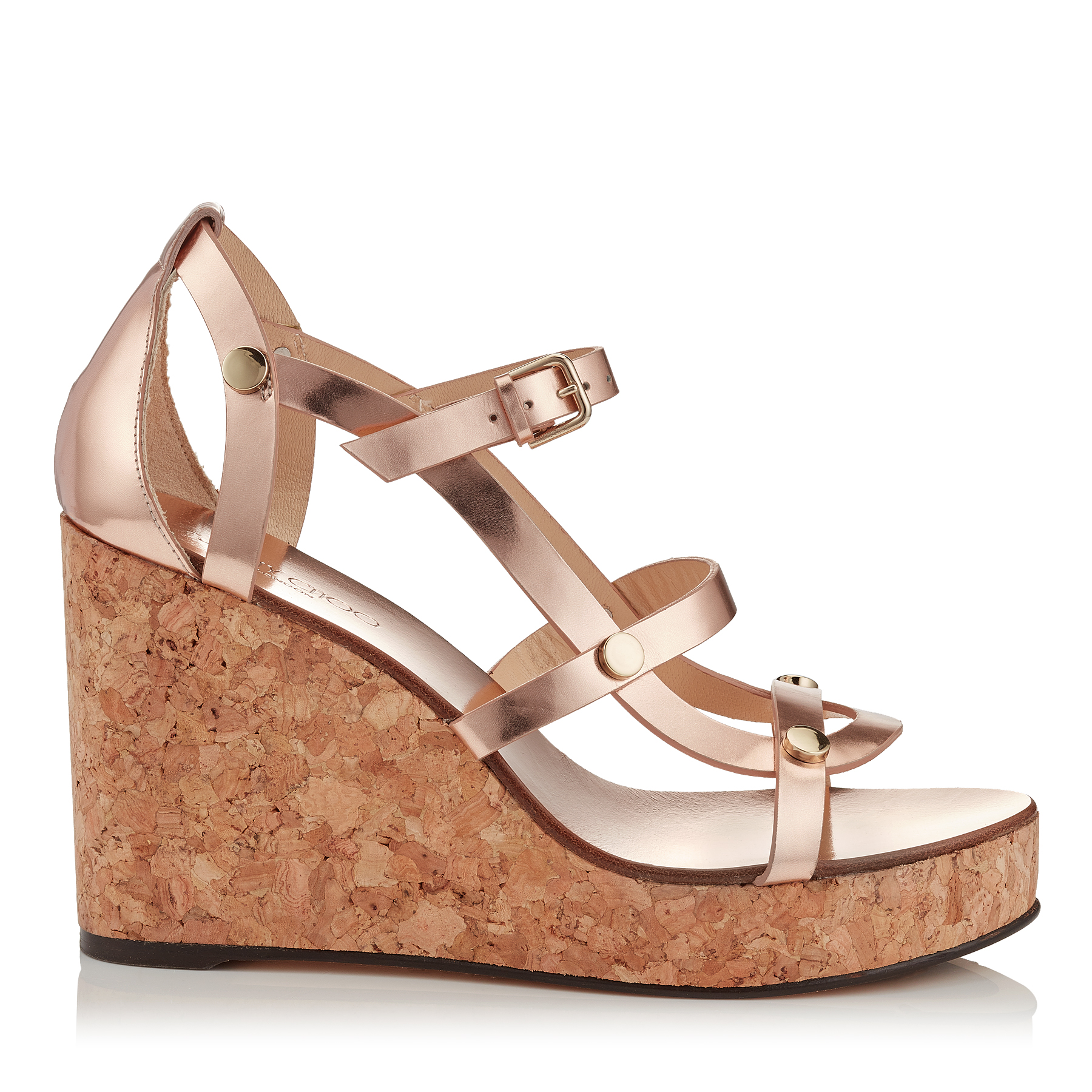 NERISSA 100 Tea Rose Mirror Leather Wedges with Studs by Jimmy Choo