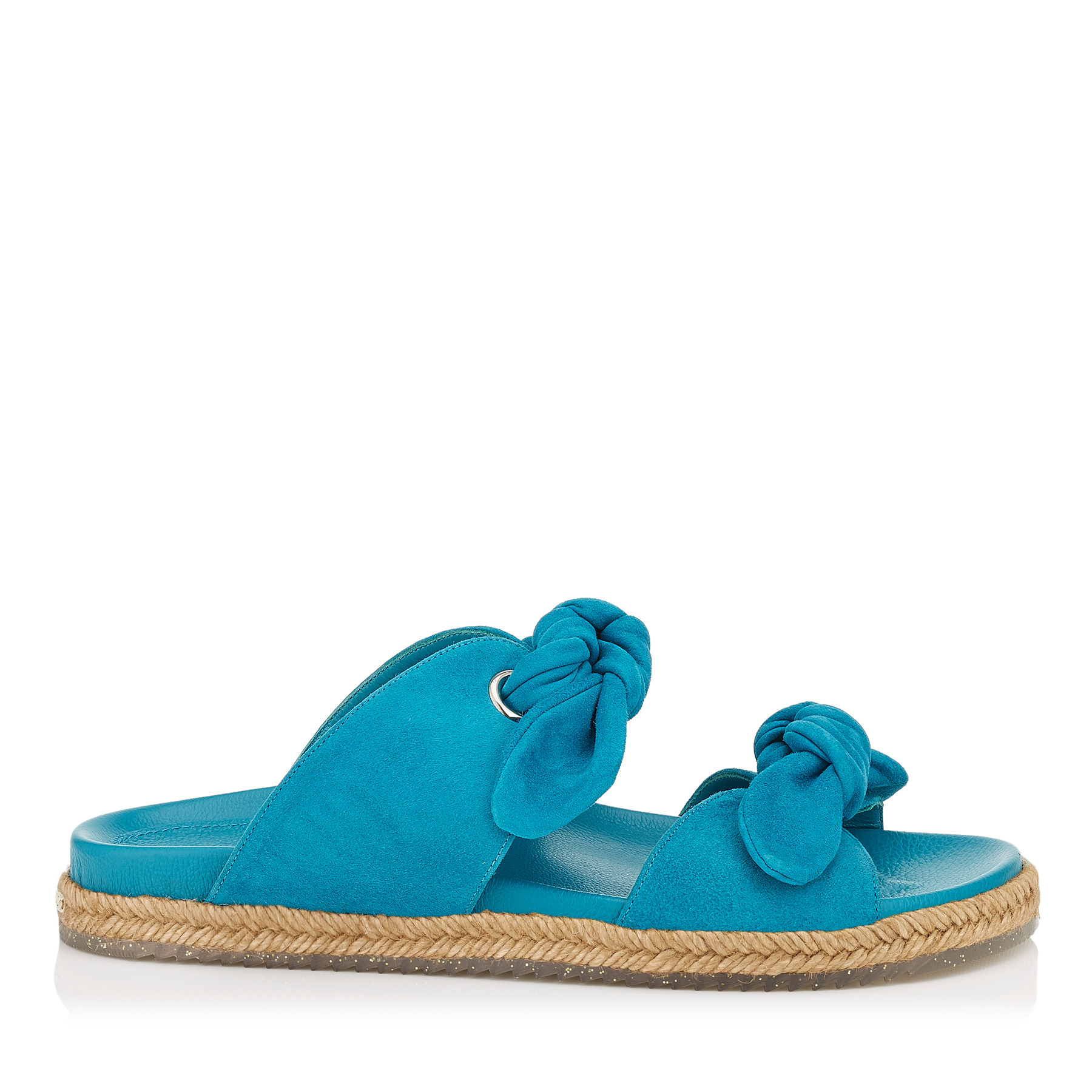 NIXON FLAT Roman Blue Suede Slip On Sandal by Jimmy Choo