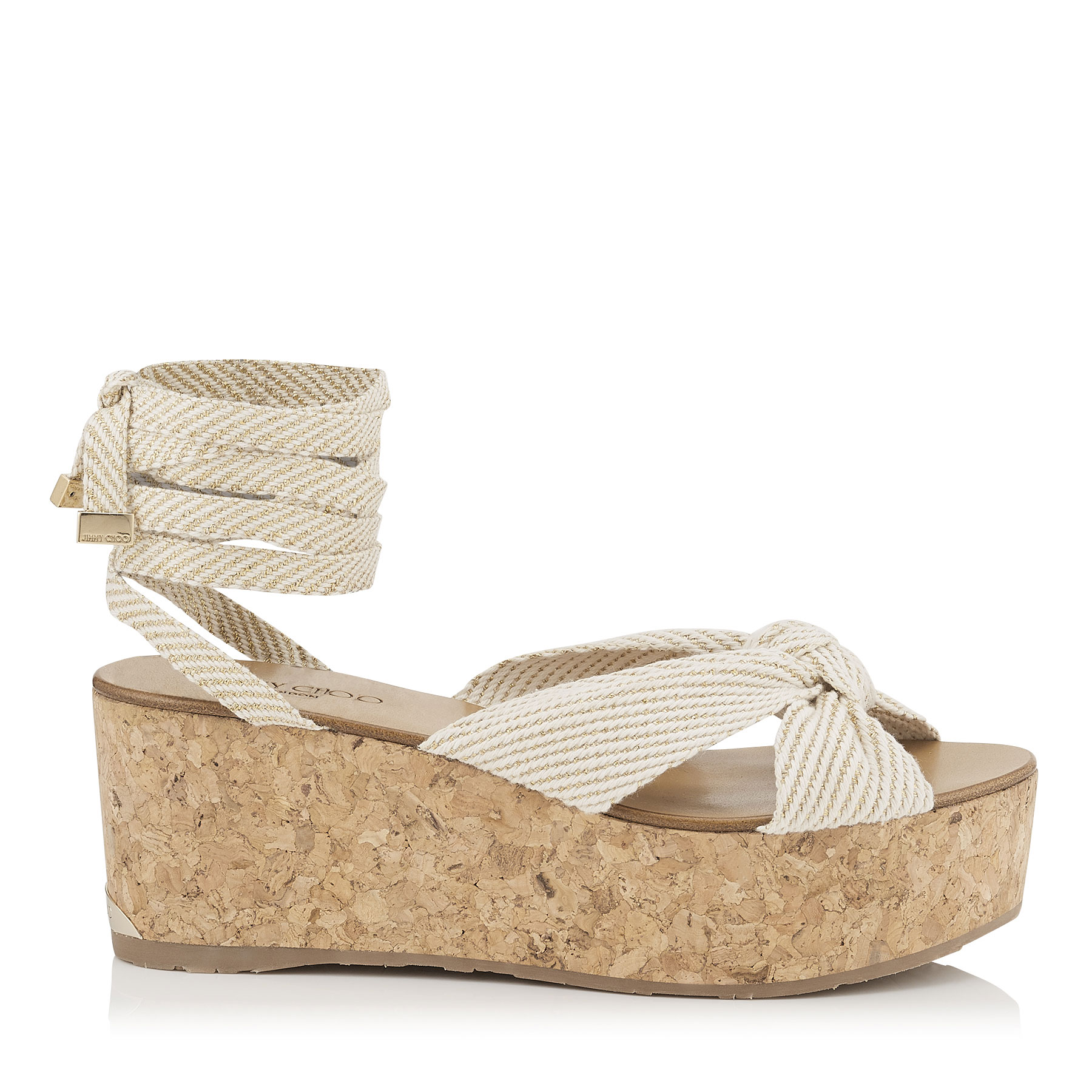 NORAH 70 Natural Gold Cotton and Lurex Wedge Sandals by Jimmy Choo