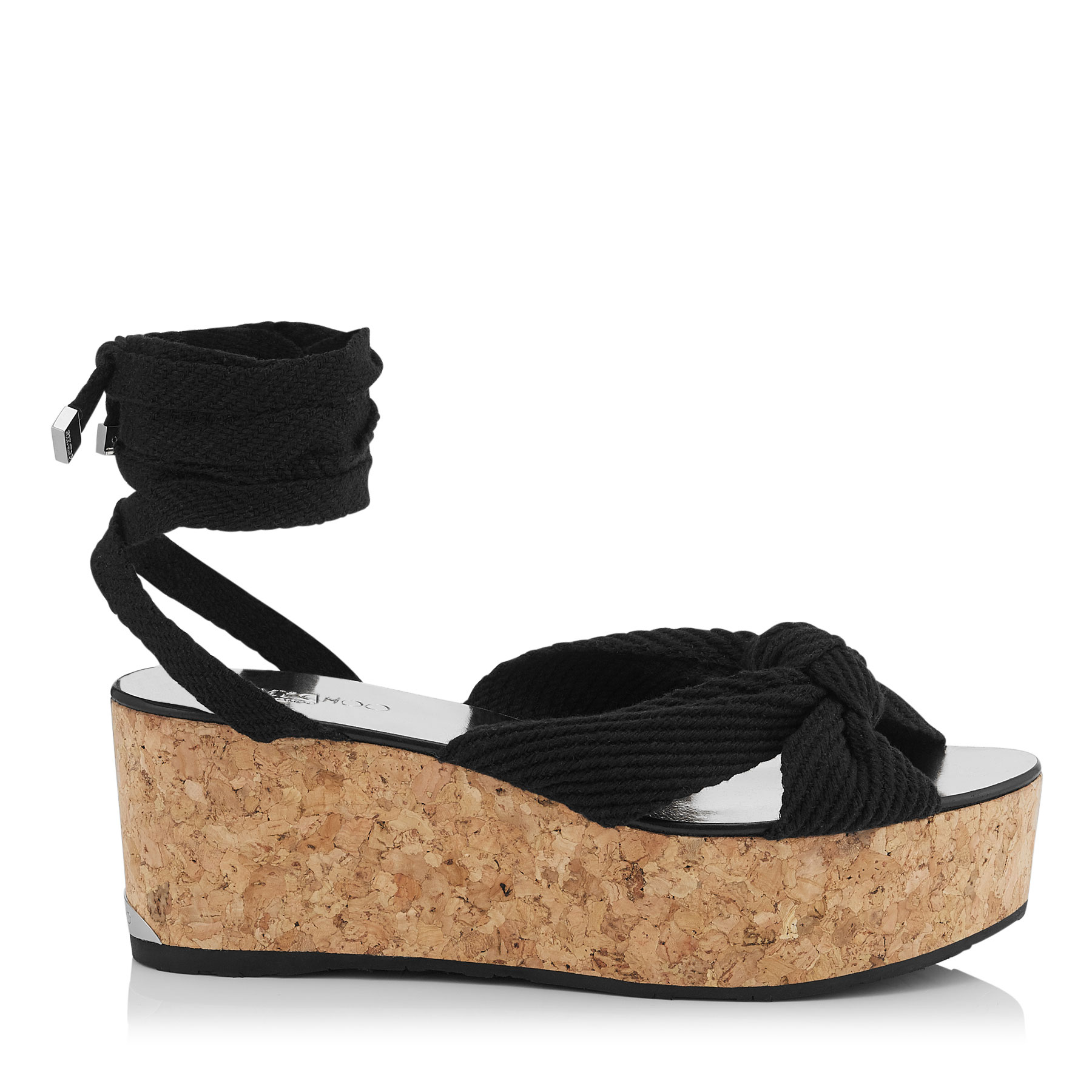 NORAH 70 Black Cotton Wedge Sandals by Jimmy Choo