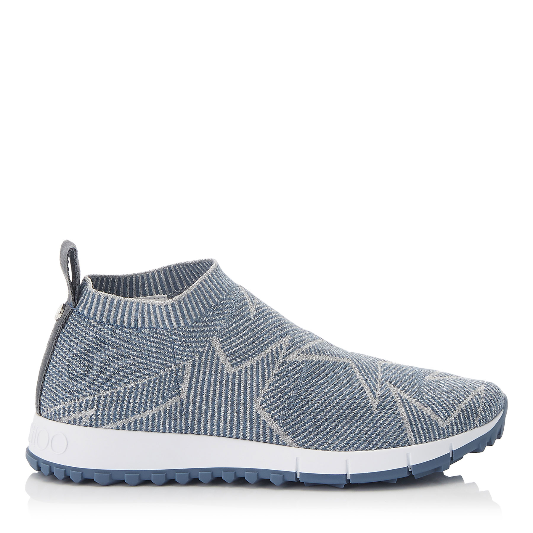 NORWAY Dusk Blue Knit and Silver Lurex Trainers by Jimmy Choo