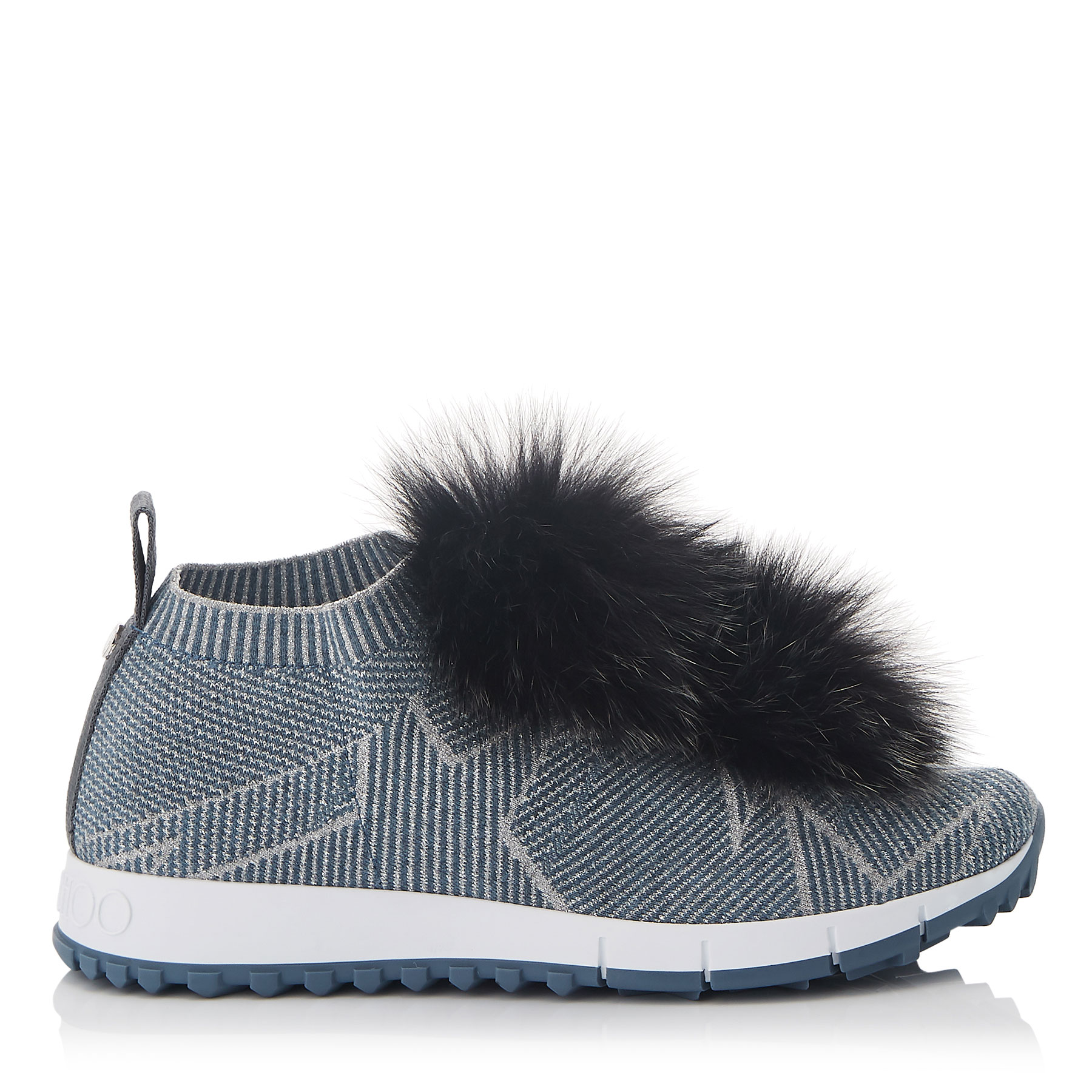 NORWAY Dusk Blue Knit and Steel Mix Lurex Trainers with Fur Pom Poms by Jimmy Choo