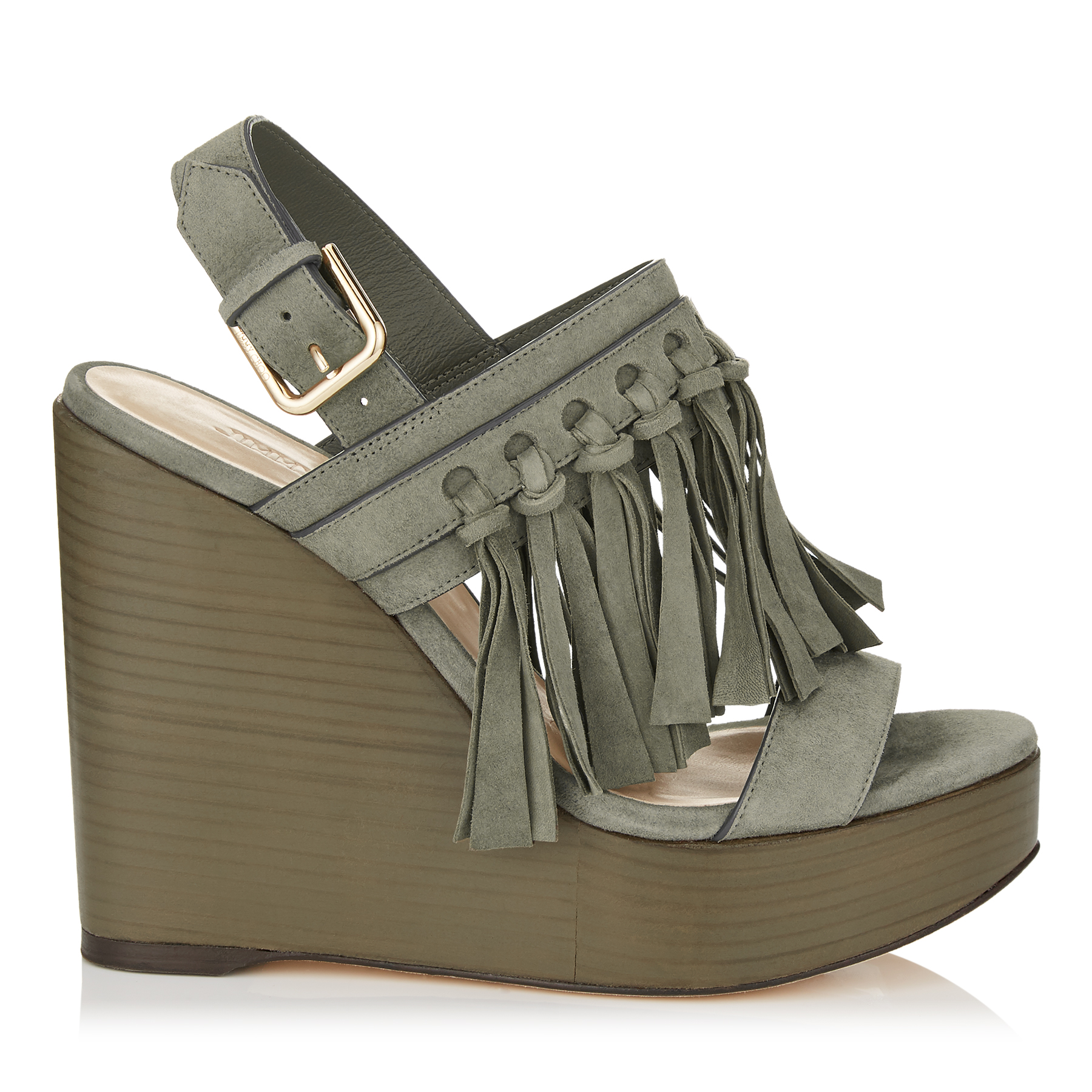 NYA 120 Mink Suede Wedges with Fringing by Jimmy Choo