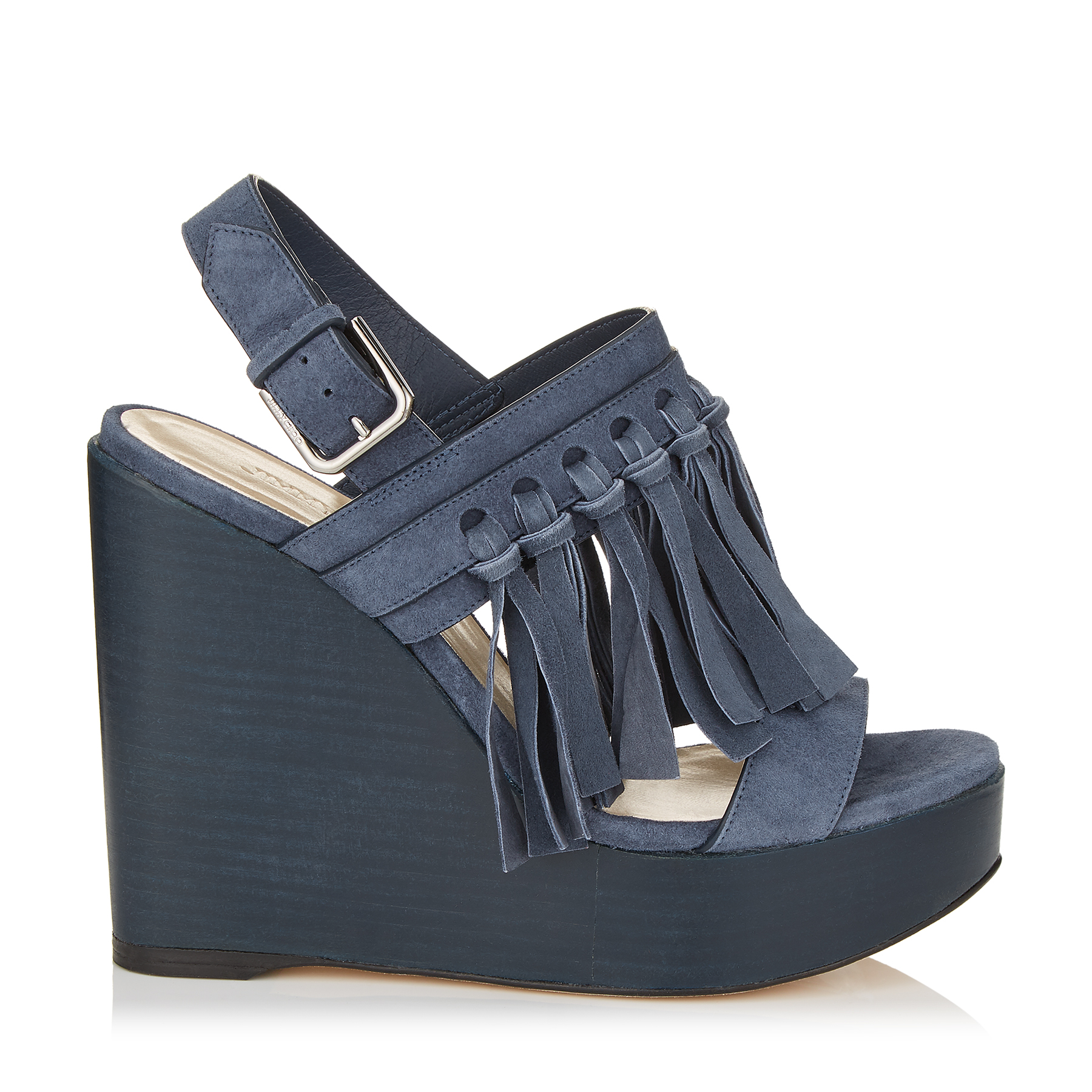 NYA 120 Stormy Blue Suede Wedges with Fringing by Jimmy Choo