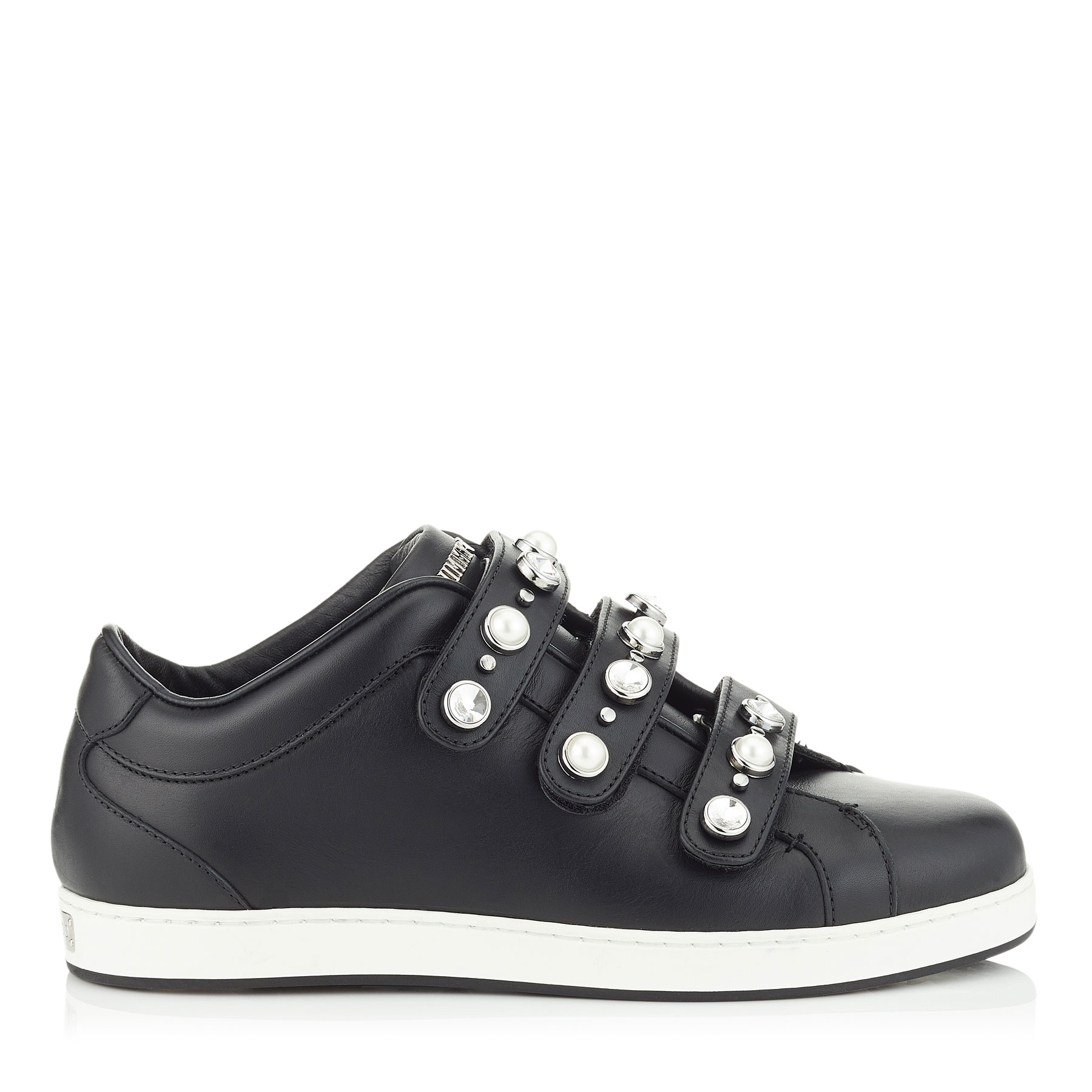 NY Black Nappa Leather Trainers with Beads and Crystals by Jimmy Choo