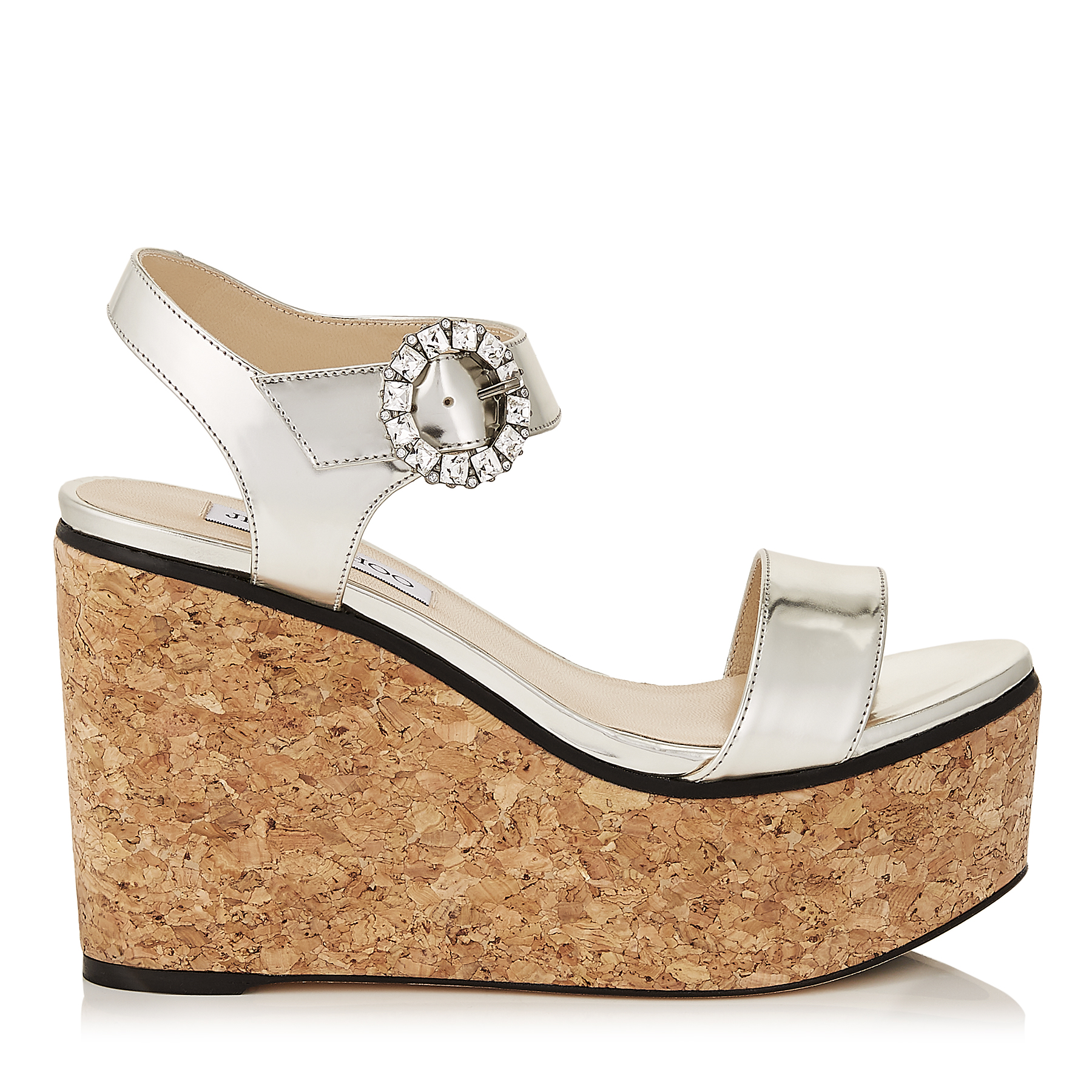 NYLAH 100 Silver Mirror Leather Cork Wedge Sandals with Crystal Buckle by Jimmy Choo