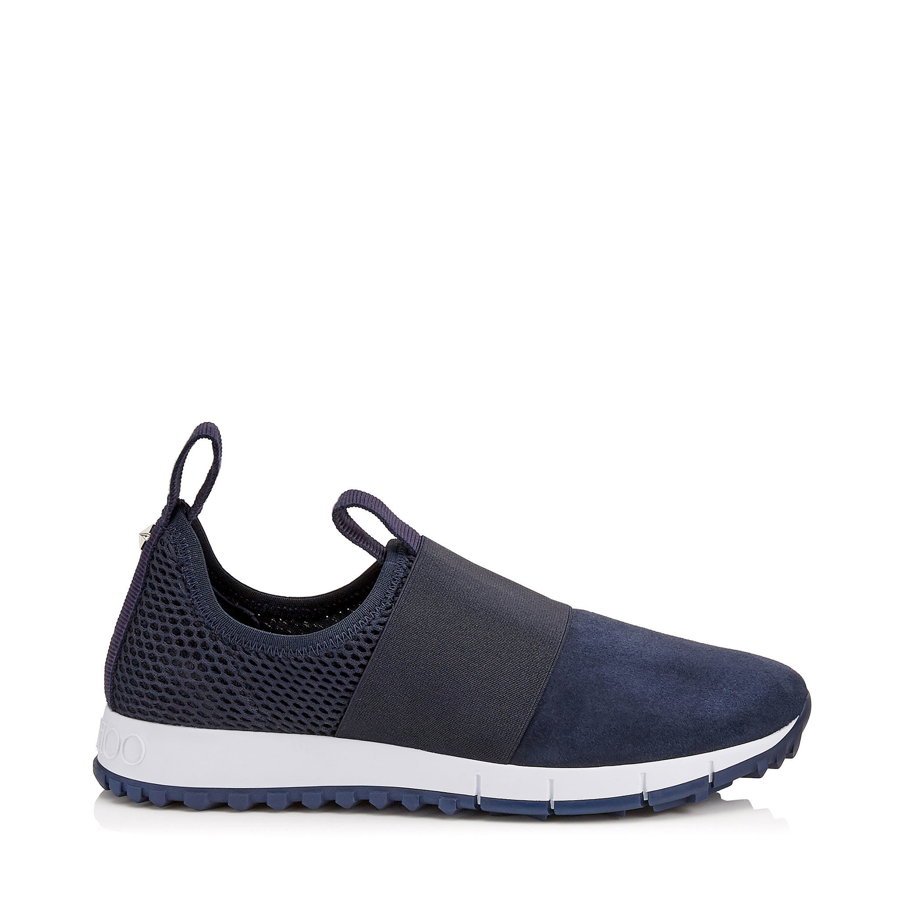 OAKLAND/F Navy Mesh and Suede Trainers by Jimmy Choo