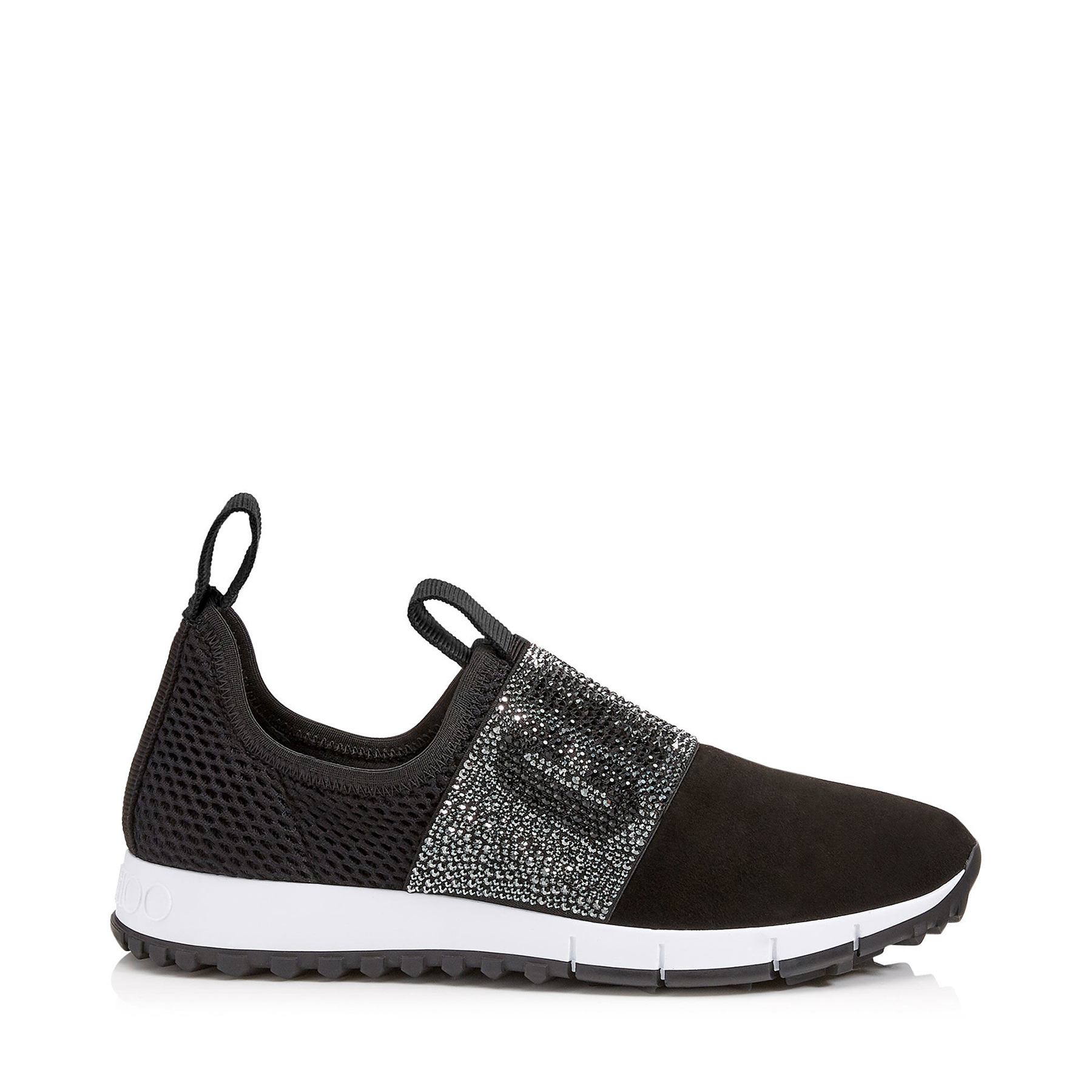 OAKLAND/F Black Mesh and Suede Trainers with Crystal Detailing by Jimmy Choo