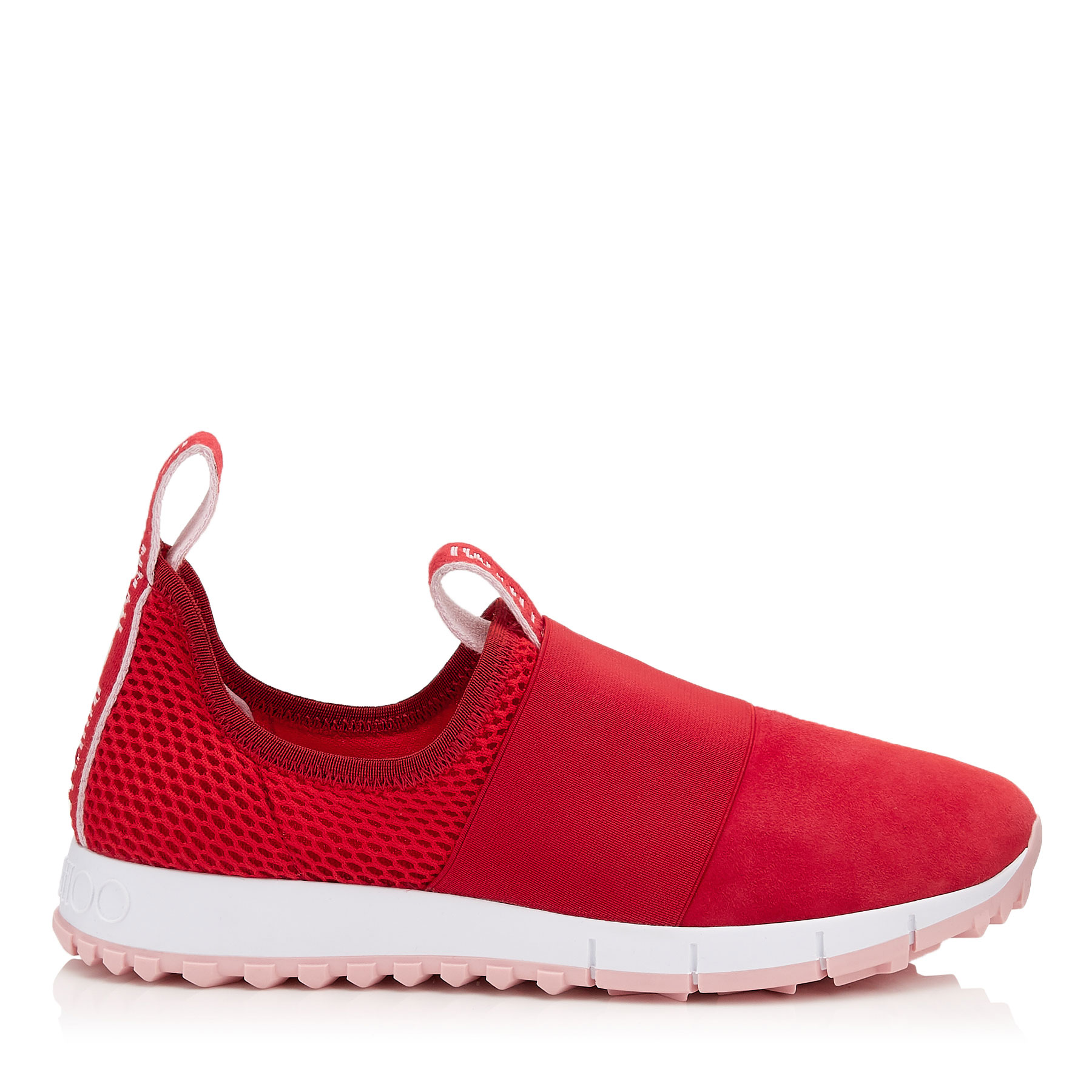 OAKLAND/F Red Mesh and Suede Trainers by Jimmy Choo