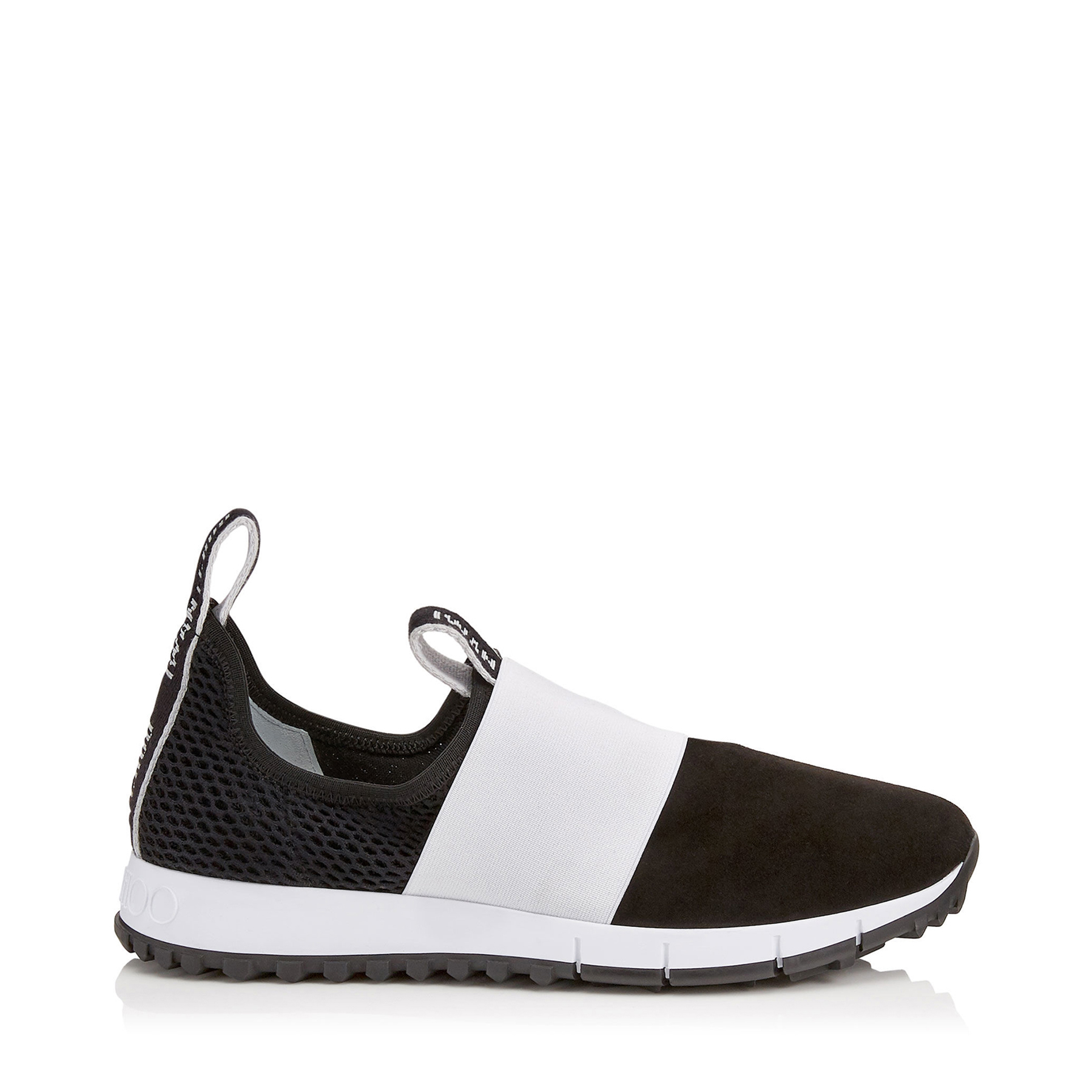 OAKLAND/F Black Mesh and Suede Trainers with White Logo Pull Detailing by Jimmy Choo