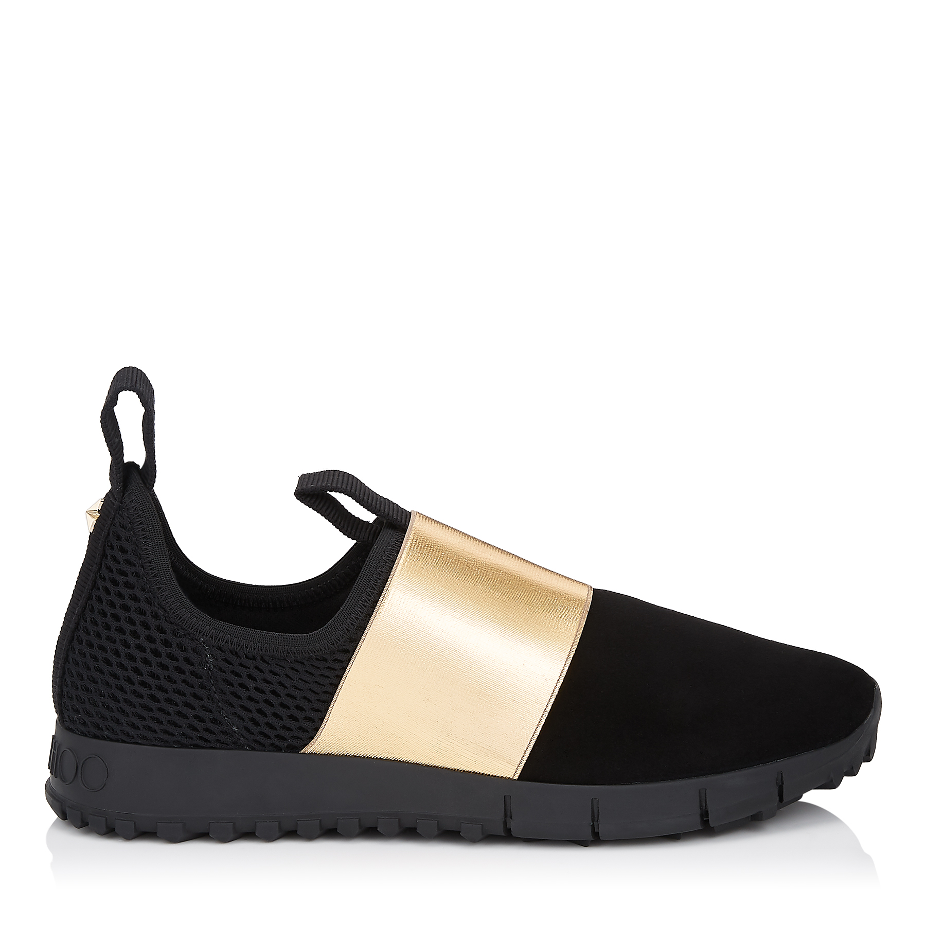 Photo of OAKLAND/F Black Suede and Mesh with Gold Metallic Elastic Sock-Like Trainers by Jimmy Choo womens shoes - buy Jimmy Choo footwear online