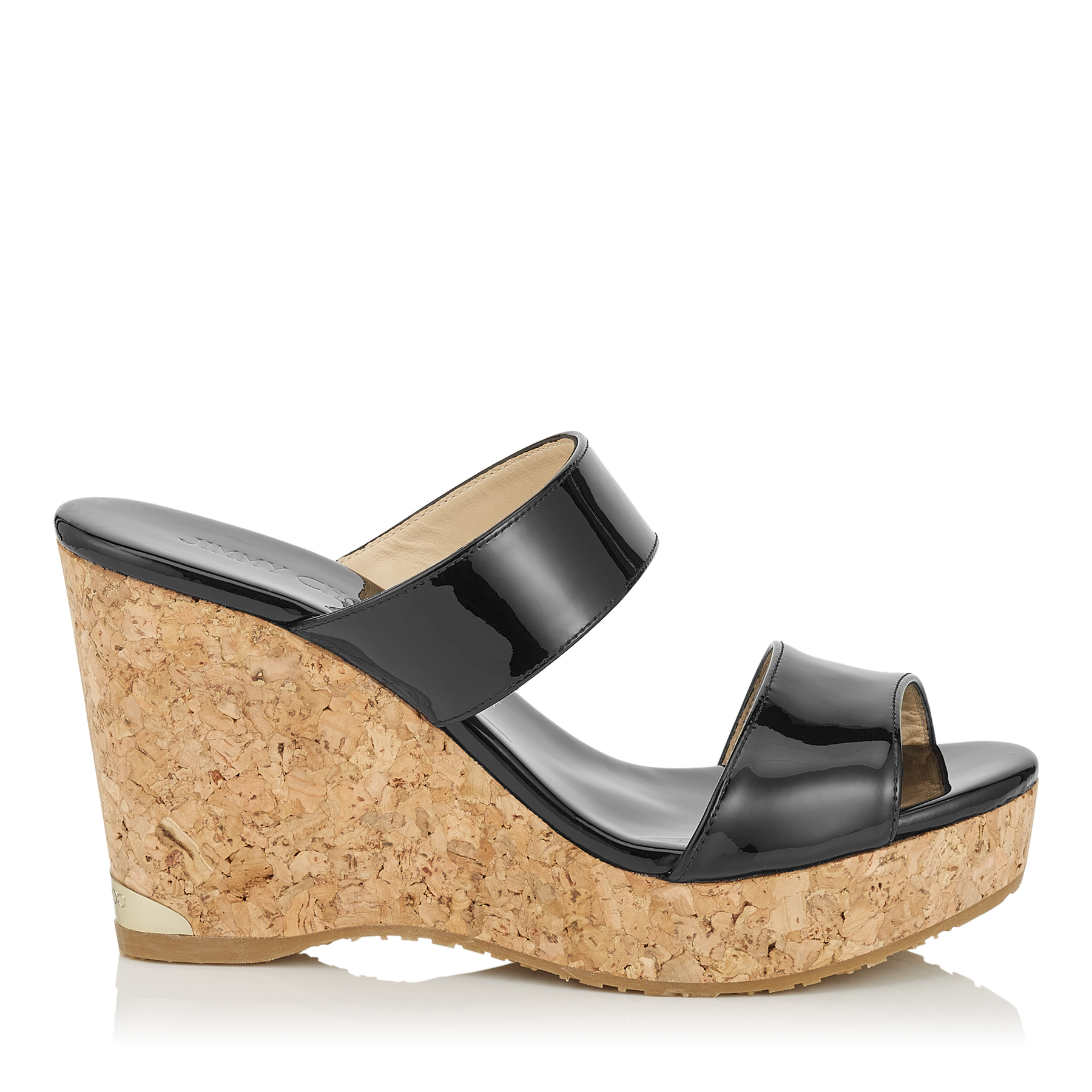 PARKER 100 Black Patent Cork Wedges by Jimmy Choo