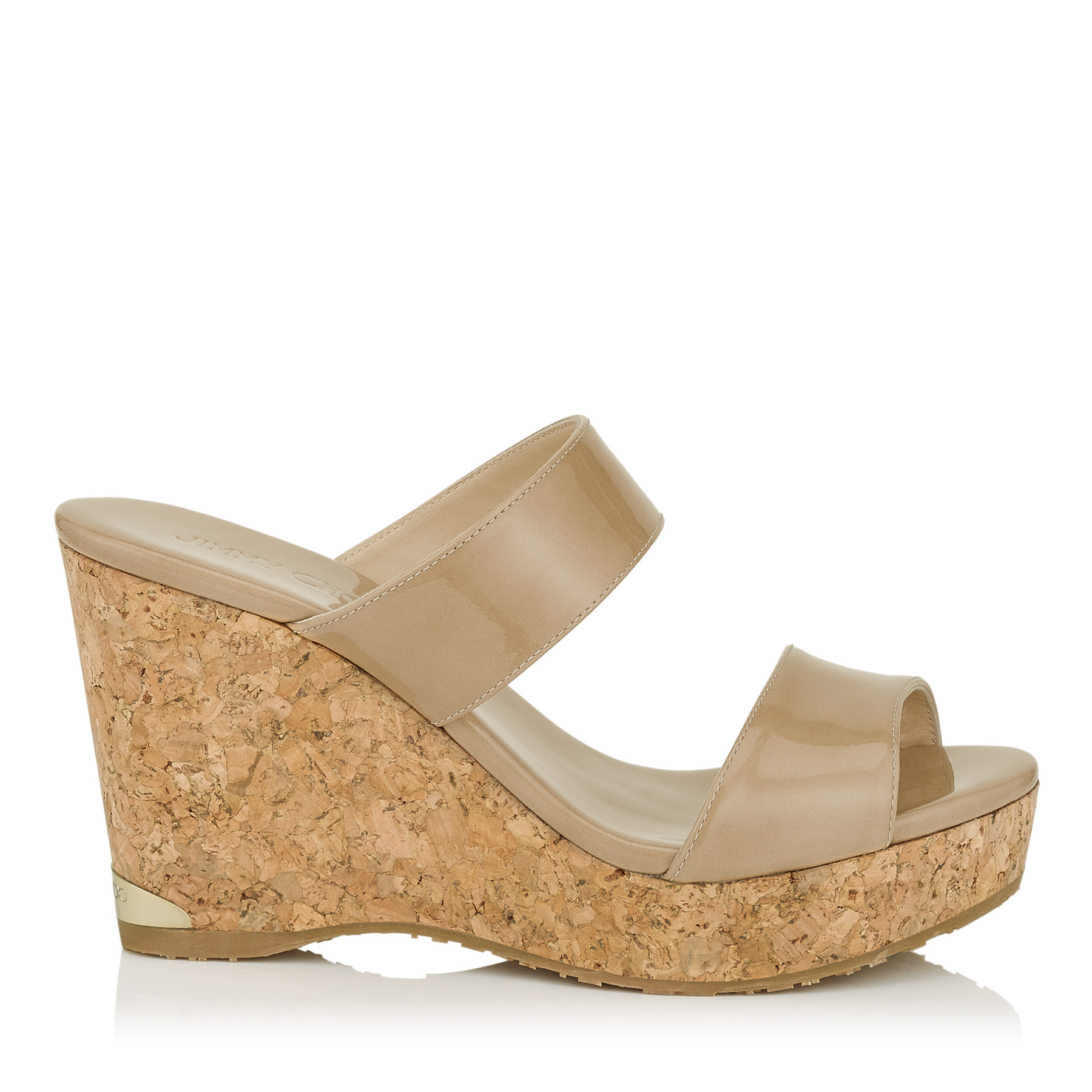 PARKER 100 Nude Patent Cork Wedges by Jimmy Choo