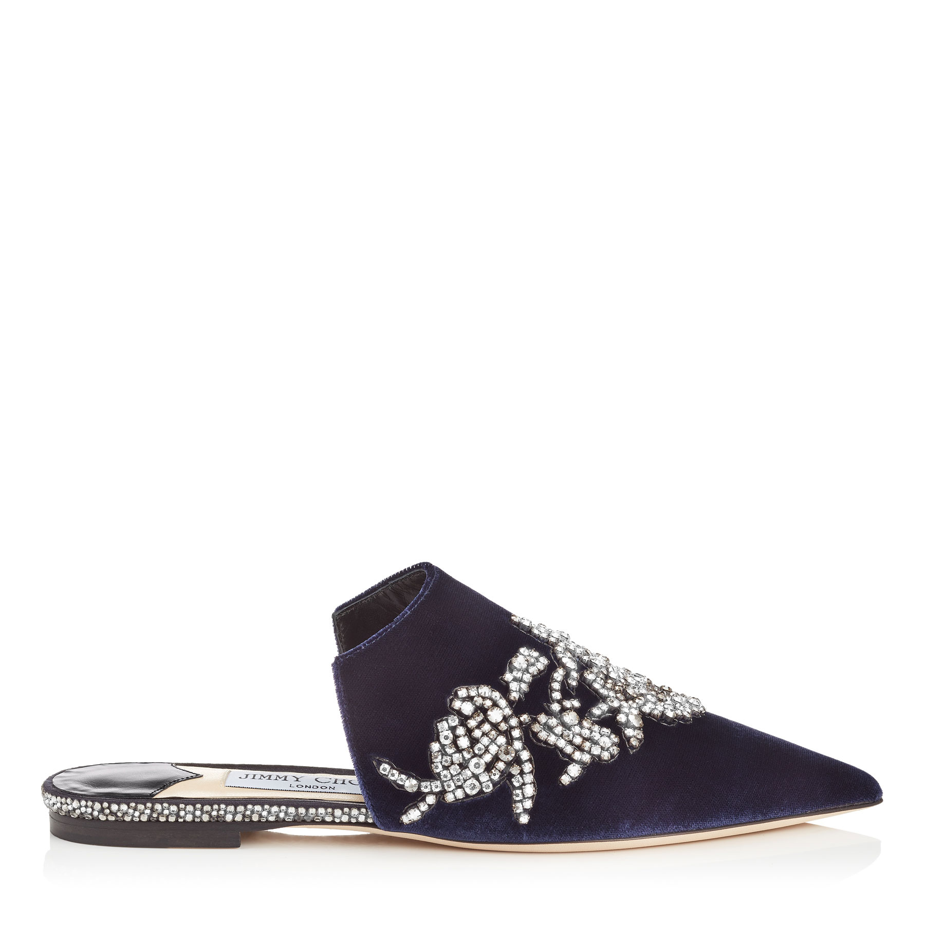 RACHEL FLAT Navy Velvet Mules with Peony Crystal Embroidery by Jimmy Choo