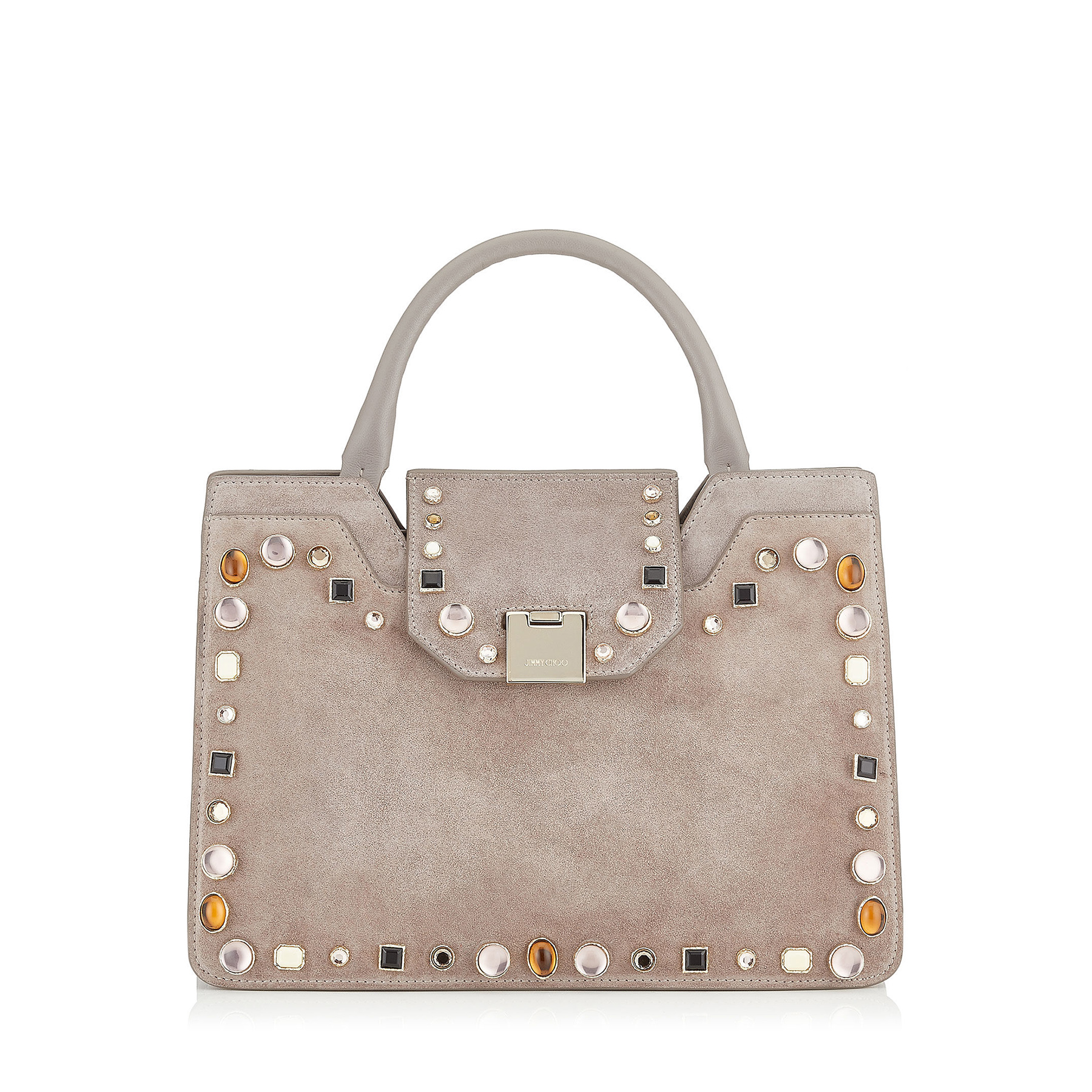 Rebel Tote/S Opal Grey Suede With Mixed Cabochon Studs Tote Bag