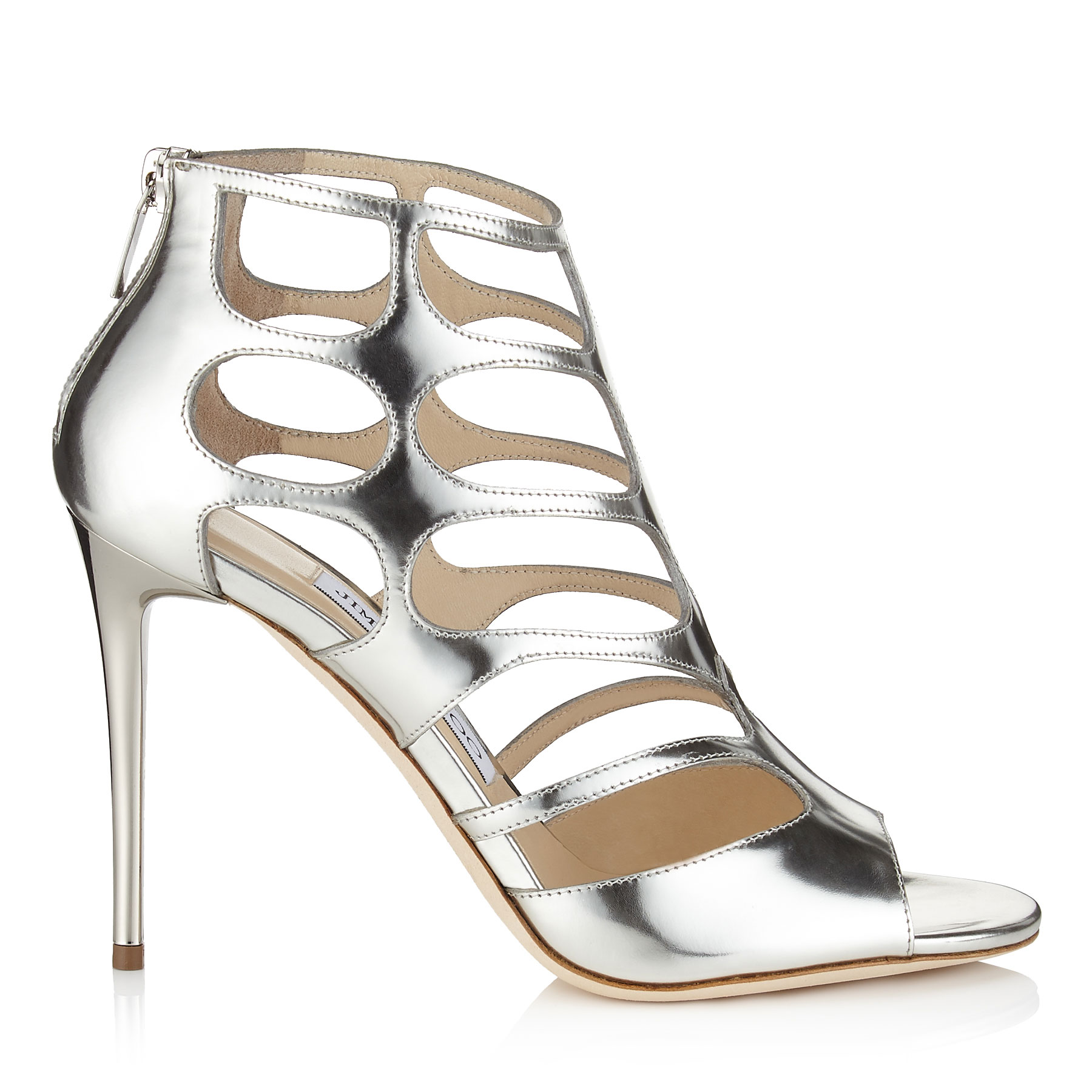 REN 100 Silver Mirror Leather Sandals by Jimmy Choo