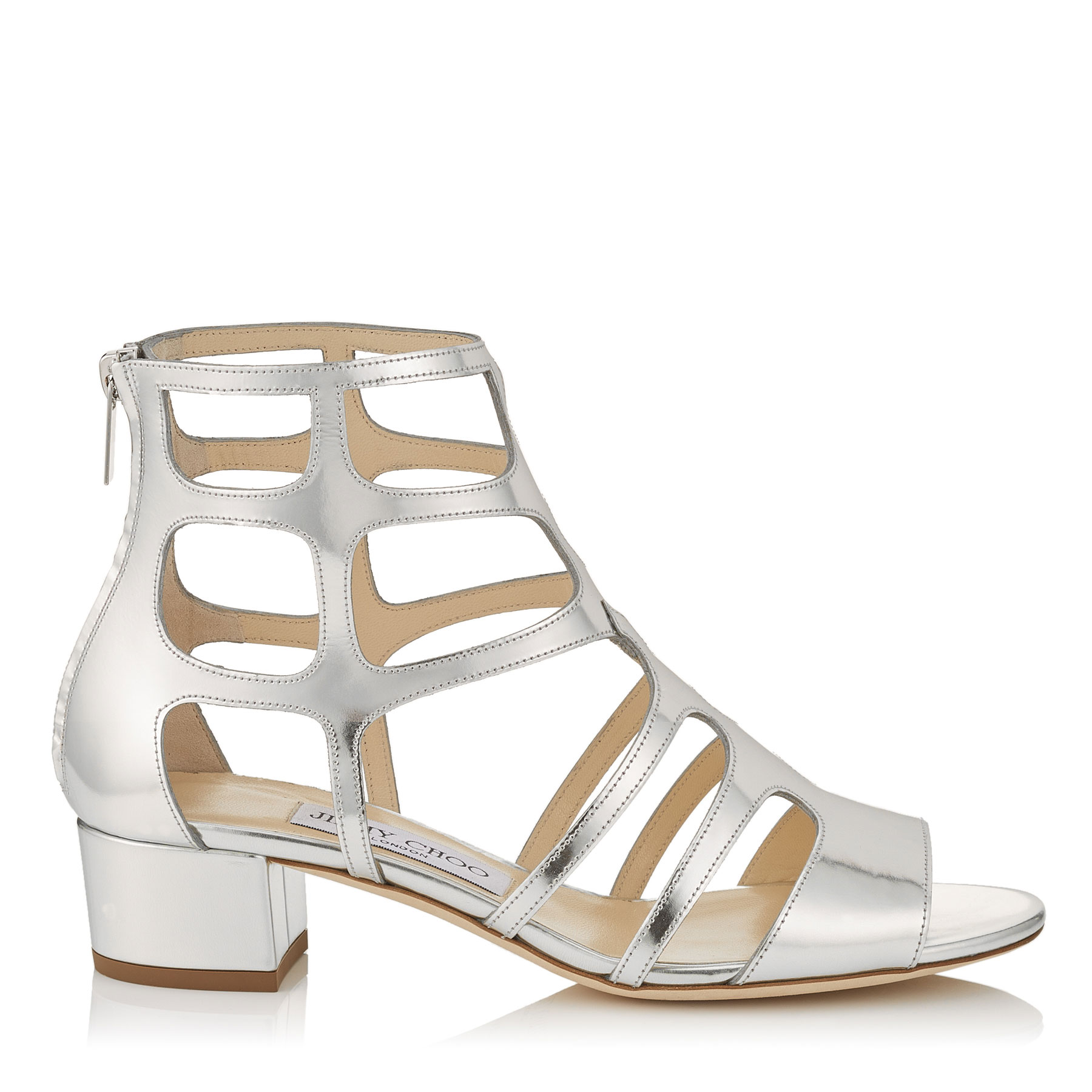 REN 35 Silver Mirror Leather Sandals by Jimmy Choo
