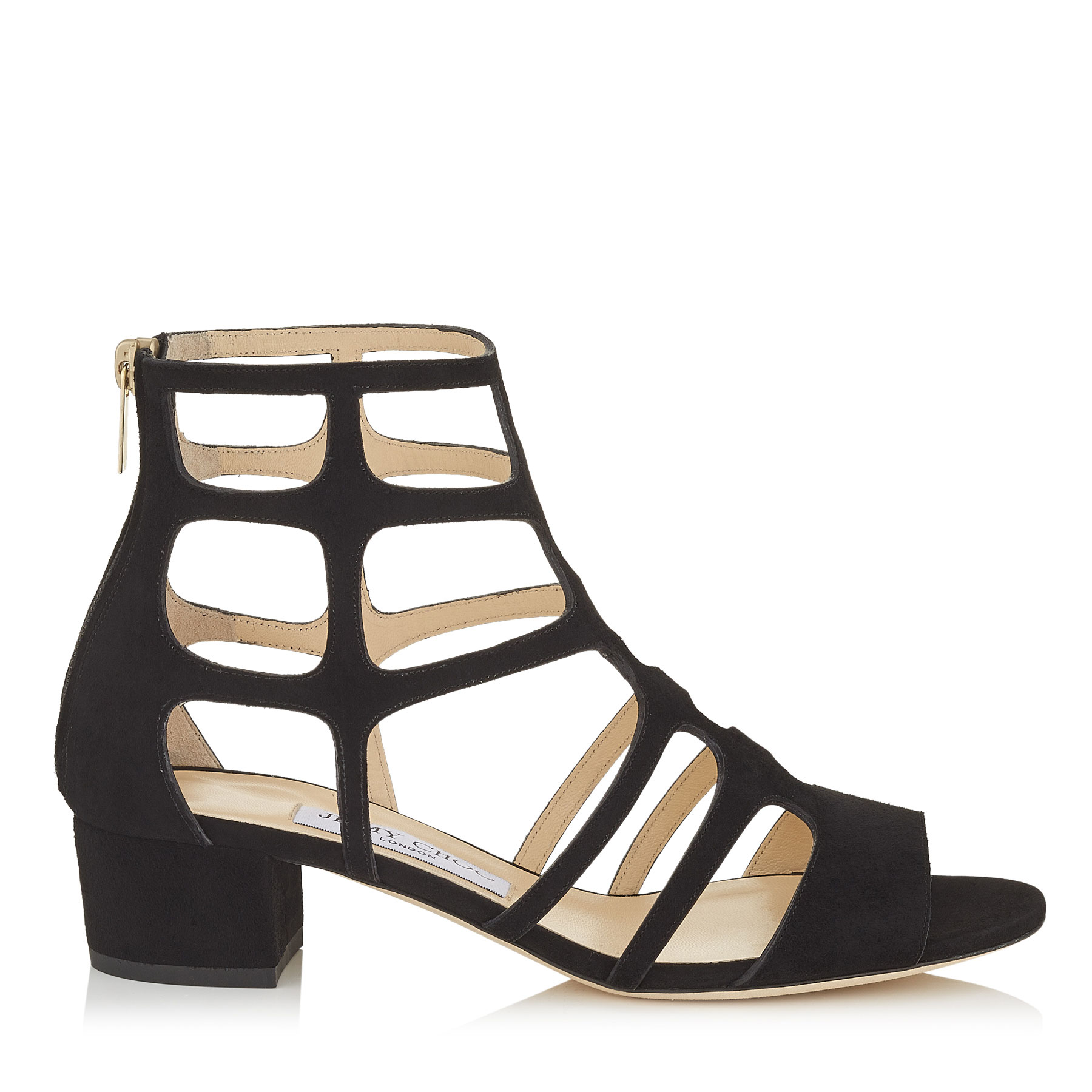 REN 35 Black Suede Sandals by Jimmy Choo