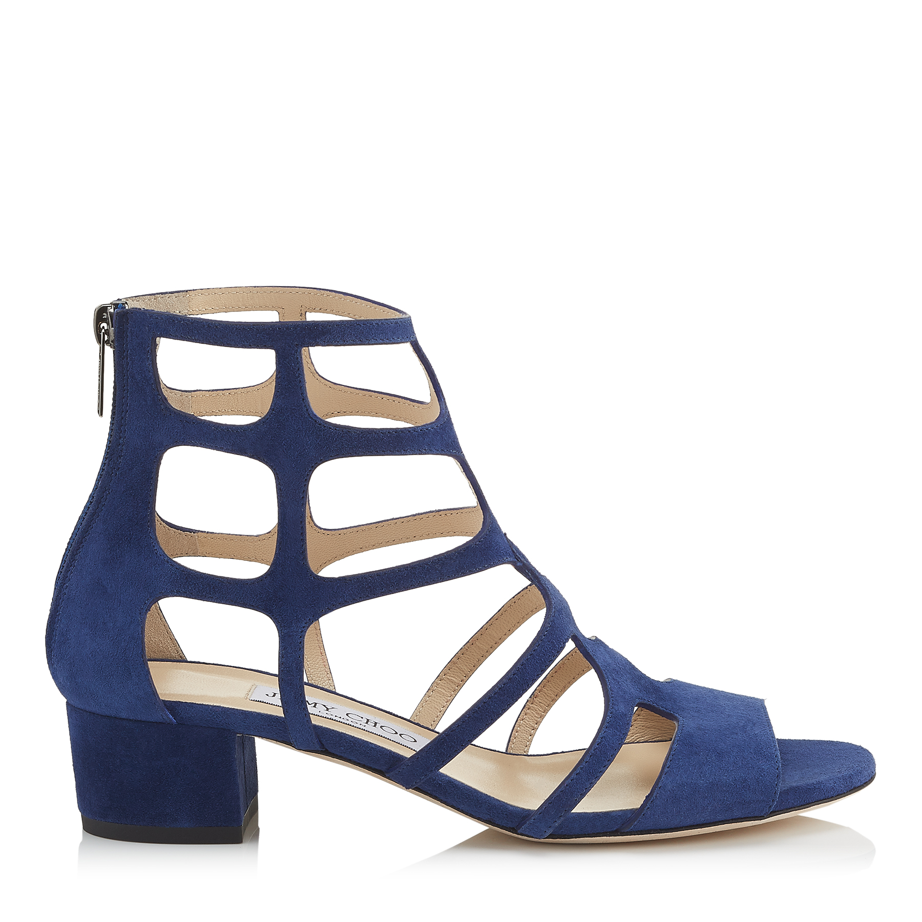 REN 35 Steel Blue Suede Sandals by Jimmy Choo