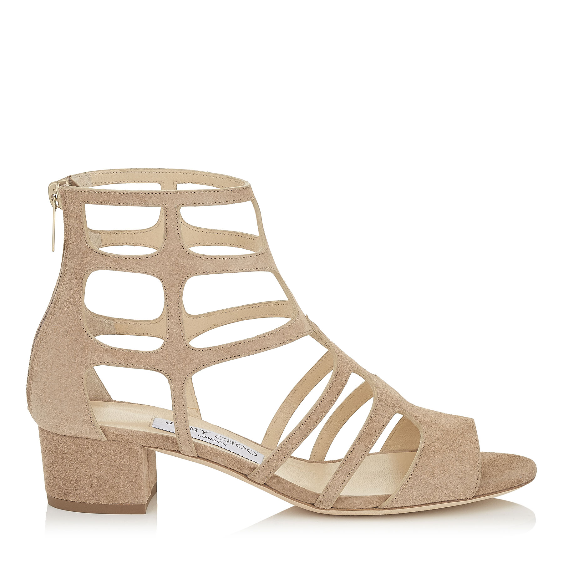 REN 35 Nude Suede Sandals by Jimmy Choo