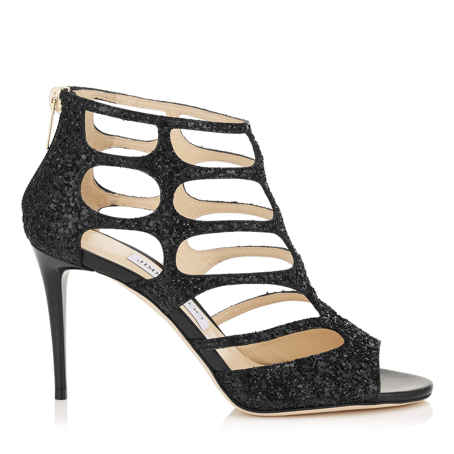 REN 85 Black Coarse Glitter Fabric Sandals by Jimmy Choo