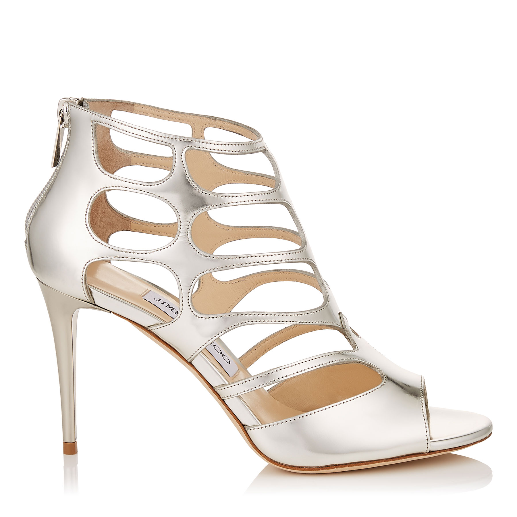 REN 85 Silver Mirror Leather Sandals by Jimmy Choo