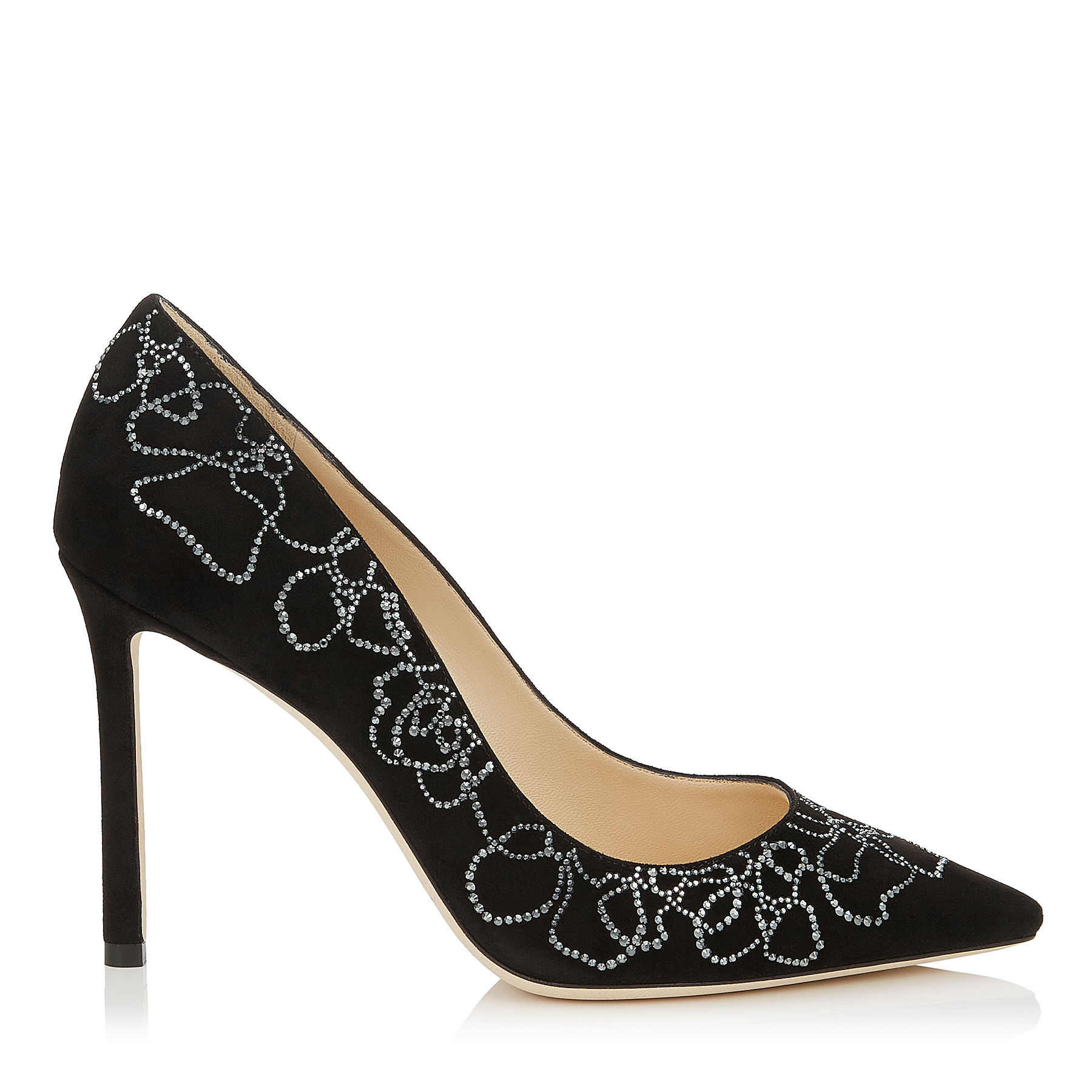 ROMY 100 Black Suede Pointy Toe Pumps with Crystal Floral Outline by Jimmy Choo