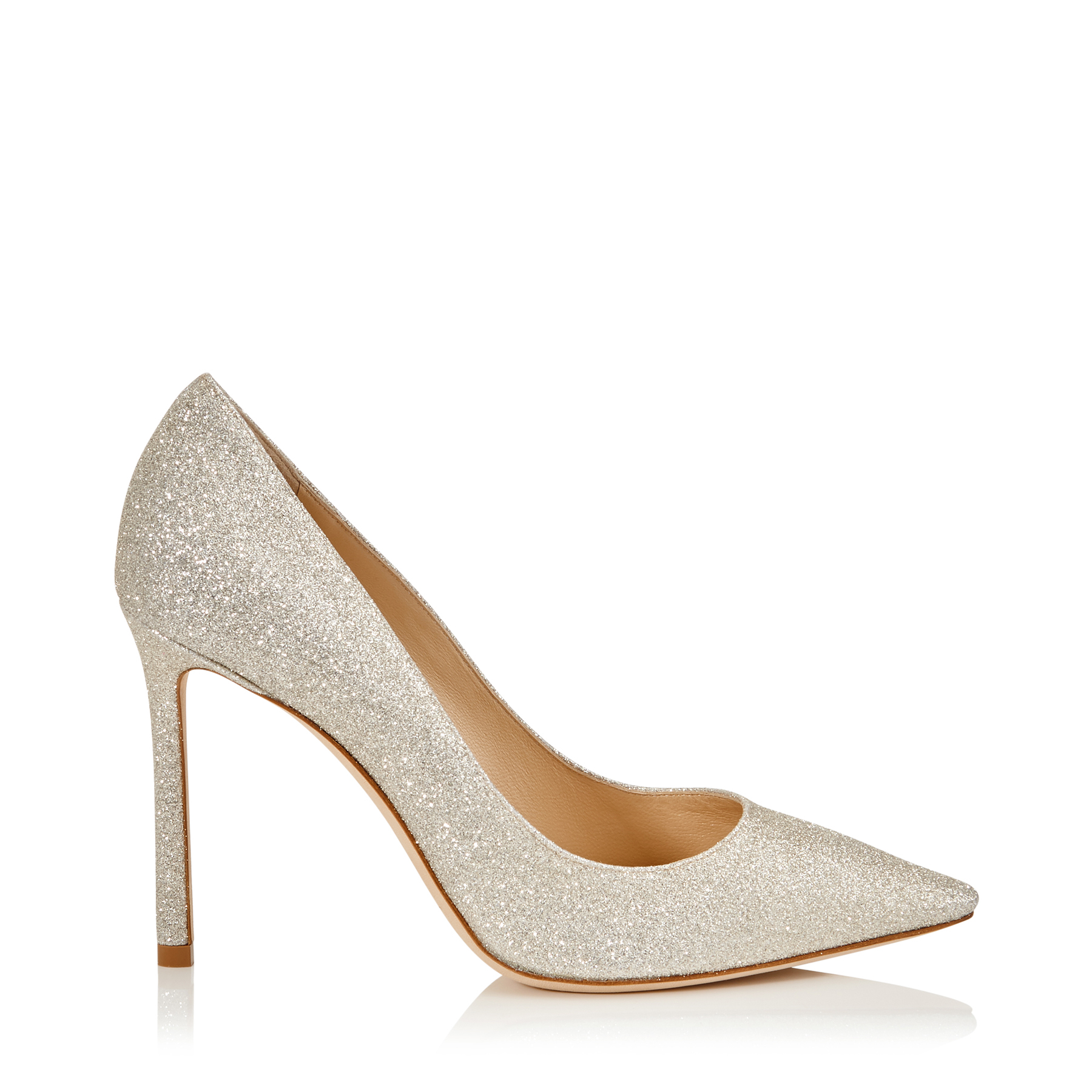 ROMY 100 Platinum Ice Dusty Glitter Pointy Toe Pumps by Jimmy Choo