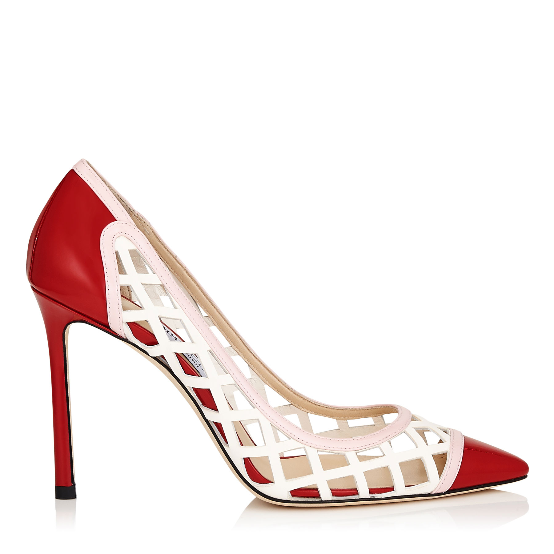 ROMY 100 Rosewater Diamond Perforated and Patent Mix Pointy Toe Pumps by Jimmy Choo