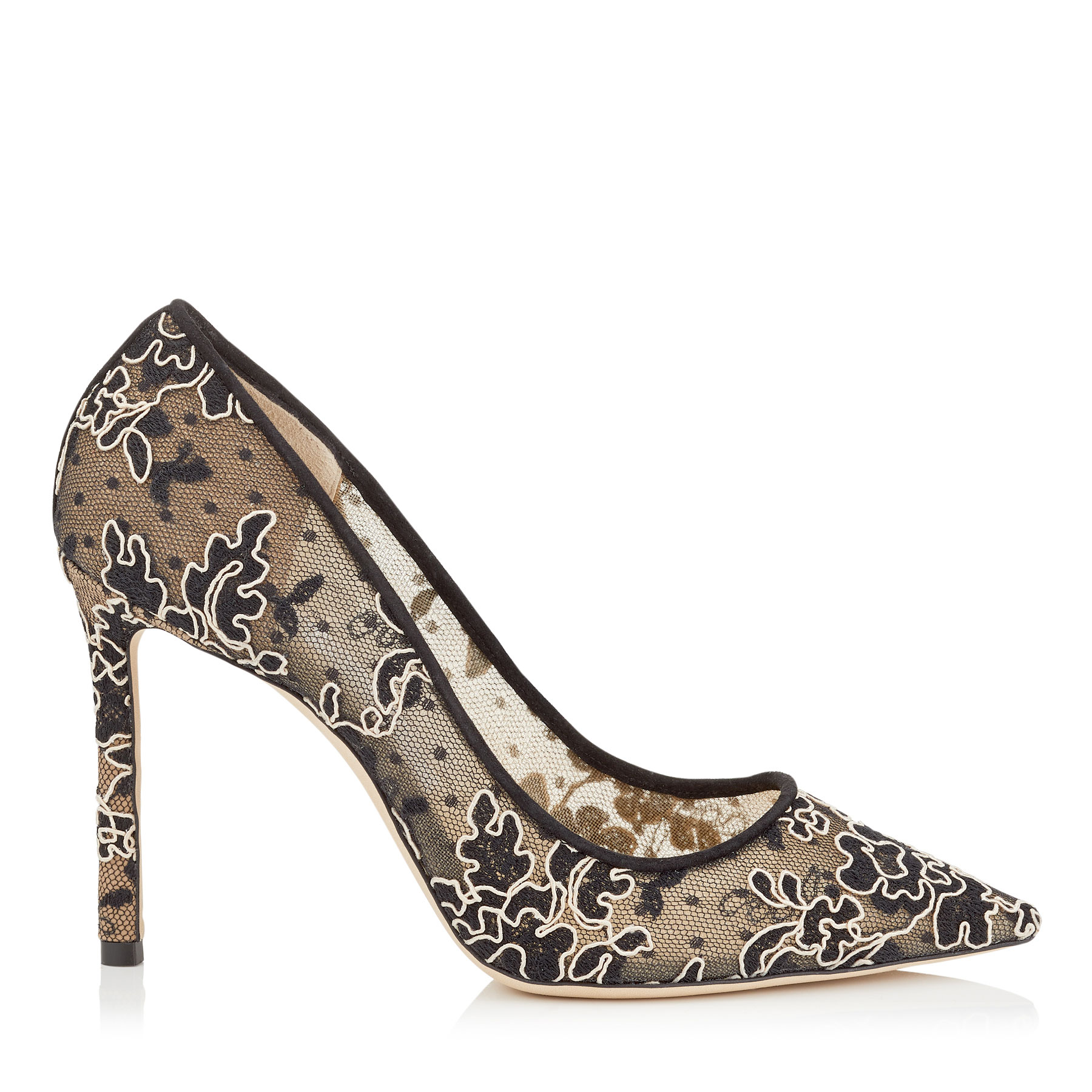ROMY 100 Black and Nude Floral Corded Lace Pointy Toe Pumps by Jimmy Choo