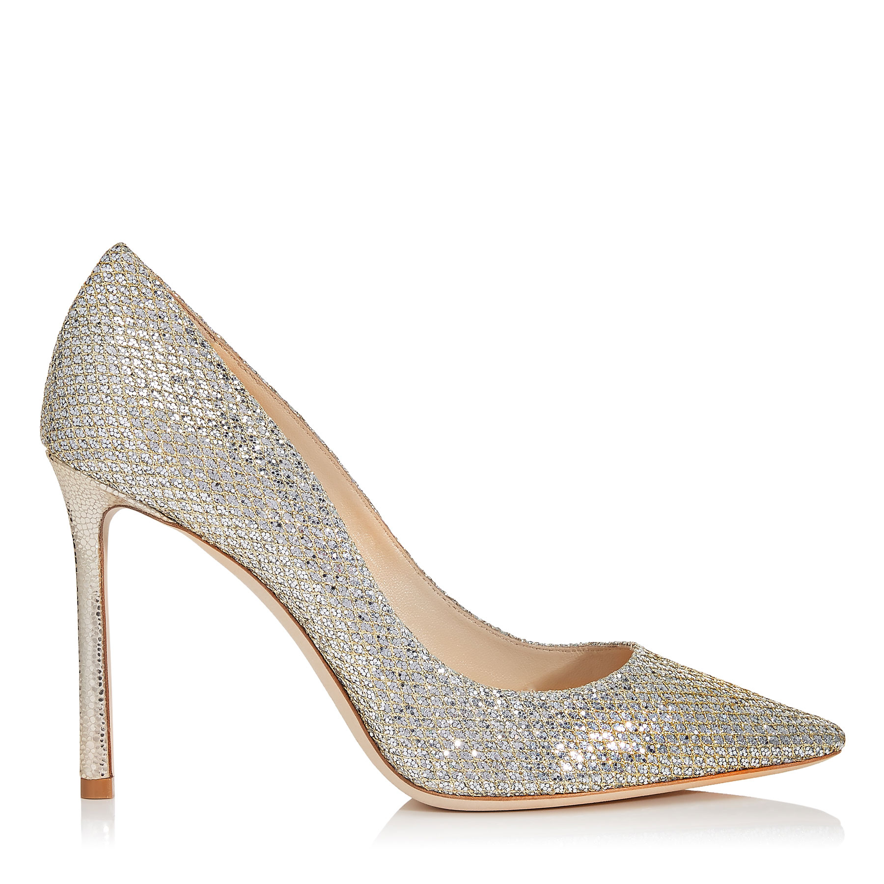 ROMY 100 Champagne Glitter Fabric Pointy Toe Pumps by Jimmy Choo
