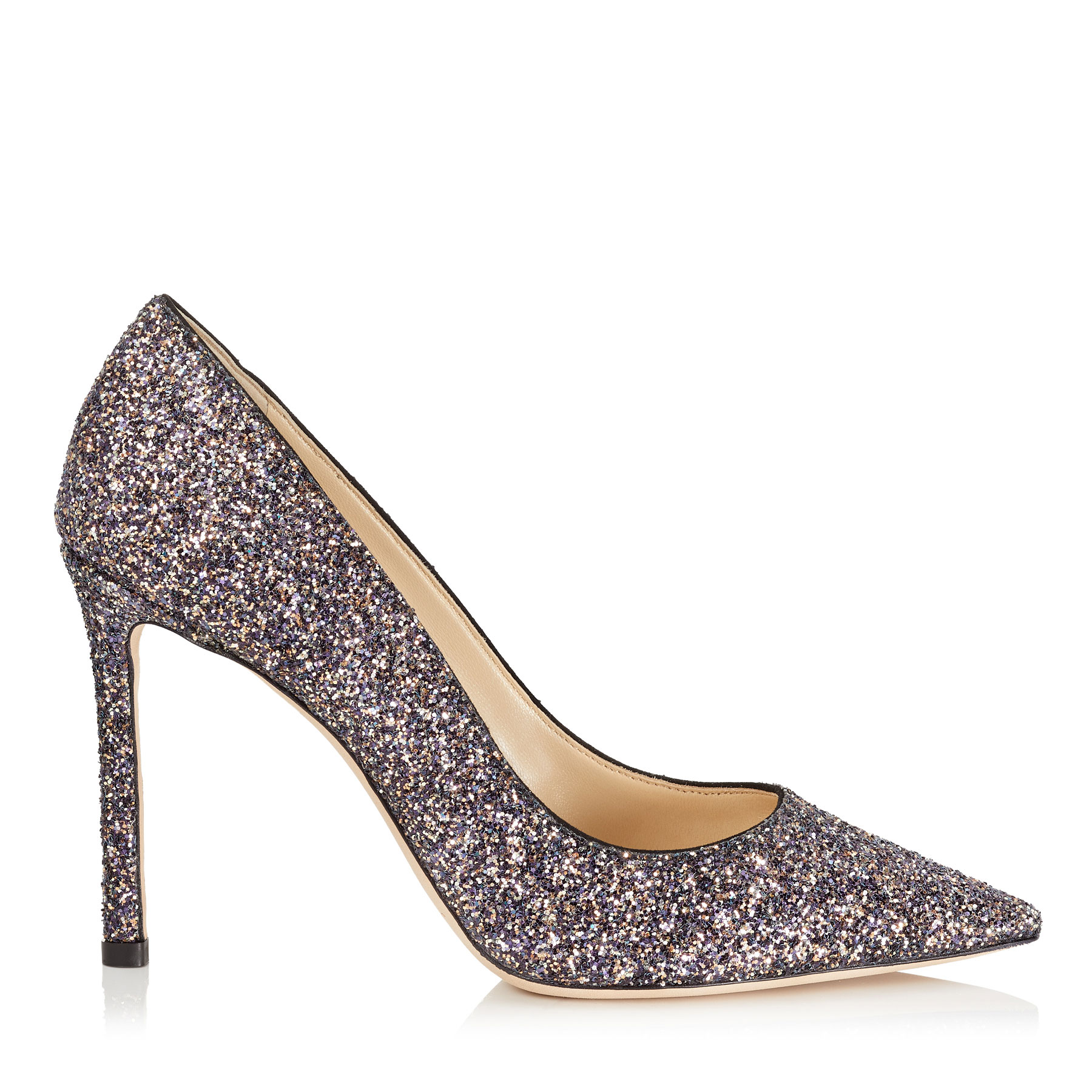 ROMY 100 Twilight Glitzy Glitter Fabric Pointy Toe Pumps by Jimmy Choo