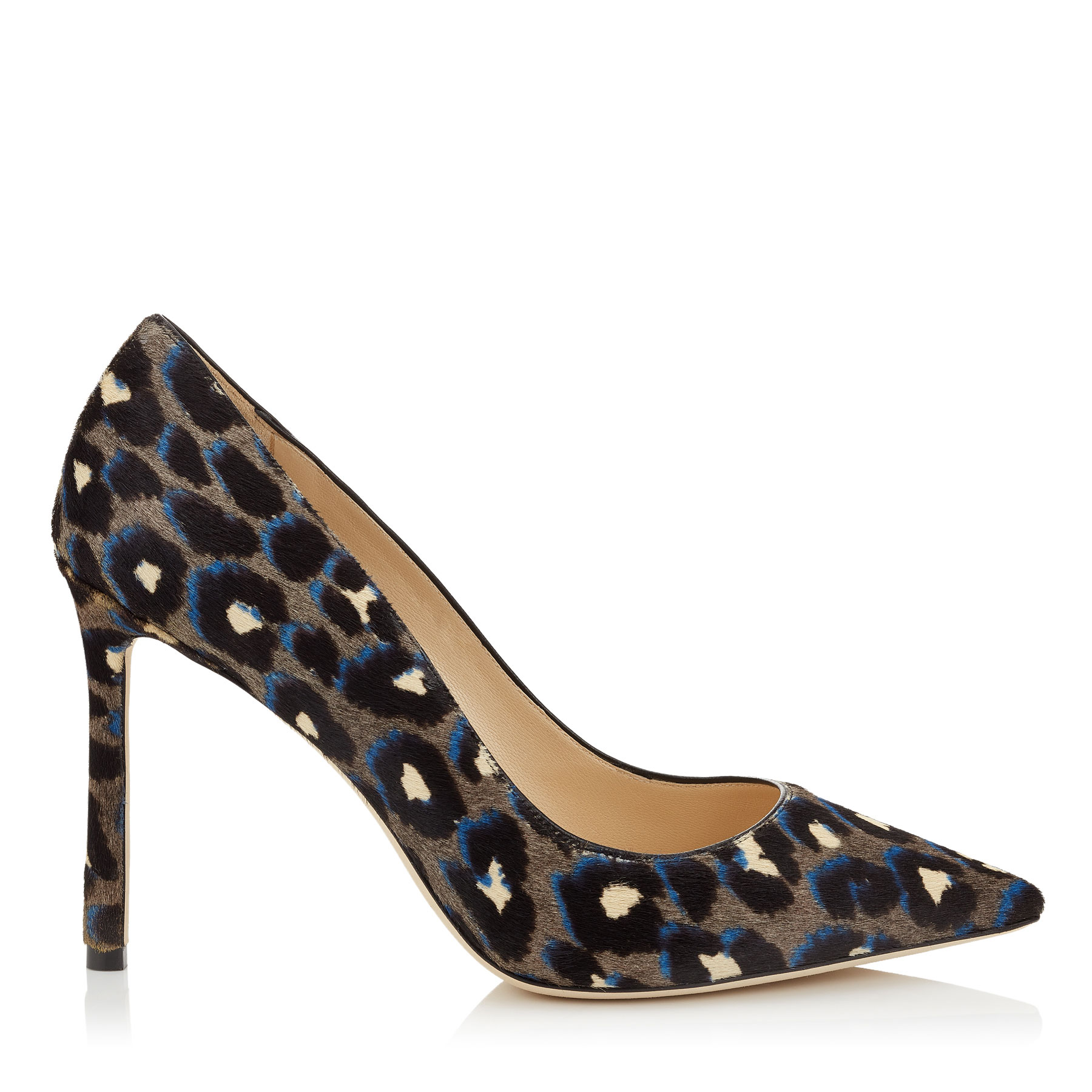 ROMY 100 Pop Blue Mix Leopard Print Pony Pointed Toe Pumps by Jimmy Choo