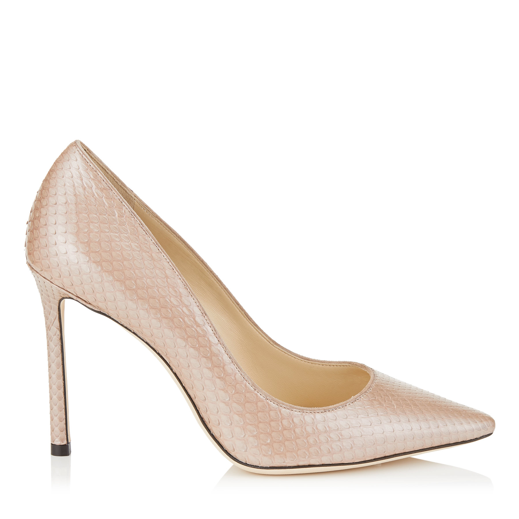 ROMY 100 Ballet Pink Glossy Pearlised Python Pointy Toe Pumps by Jimmy Choo