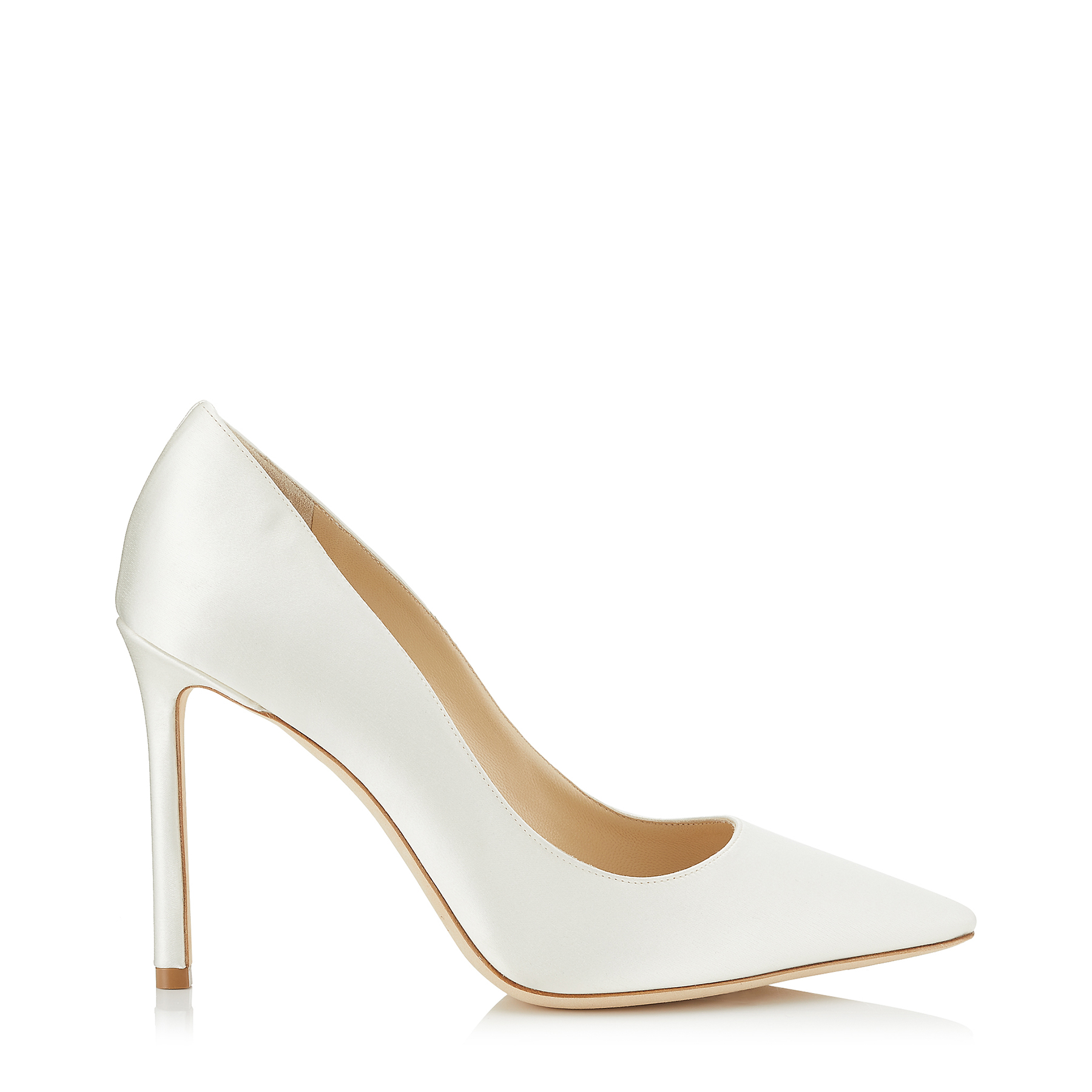ROMY 100 Ivory Satin Pointy Toe Pumps by Jimmy Choo