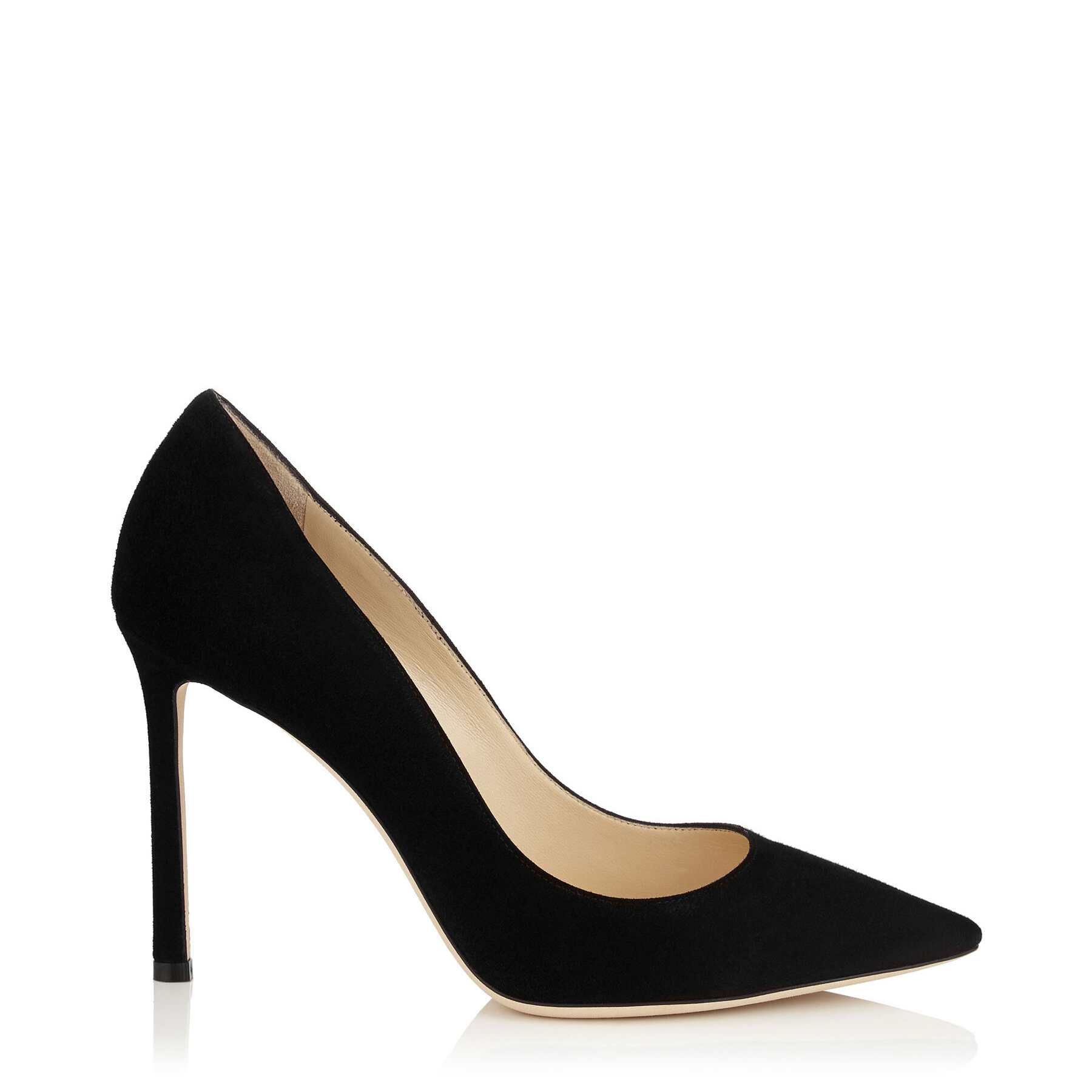 ROMY 100 Black Suede Pointy Toe Pumps by Jimmy Choo