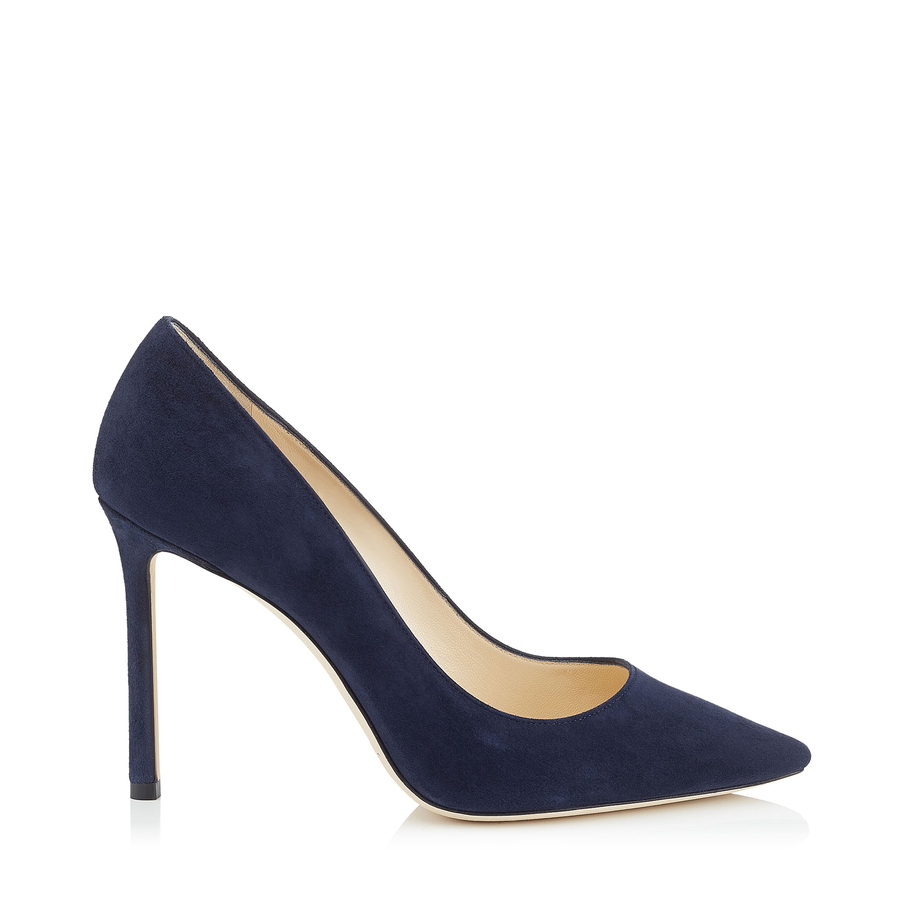 ROMY 100 Navy Suede Pointy Toe Pumps by Jimmy Choo