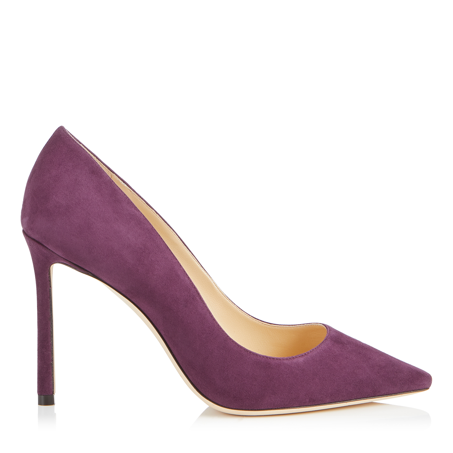 ROMY 100 Grape Suede Pointy Toe Pumps by Jimmy Choo