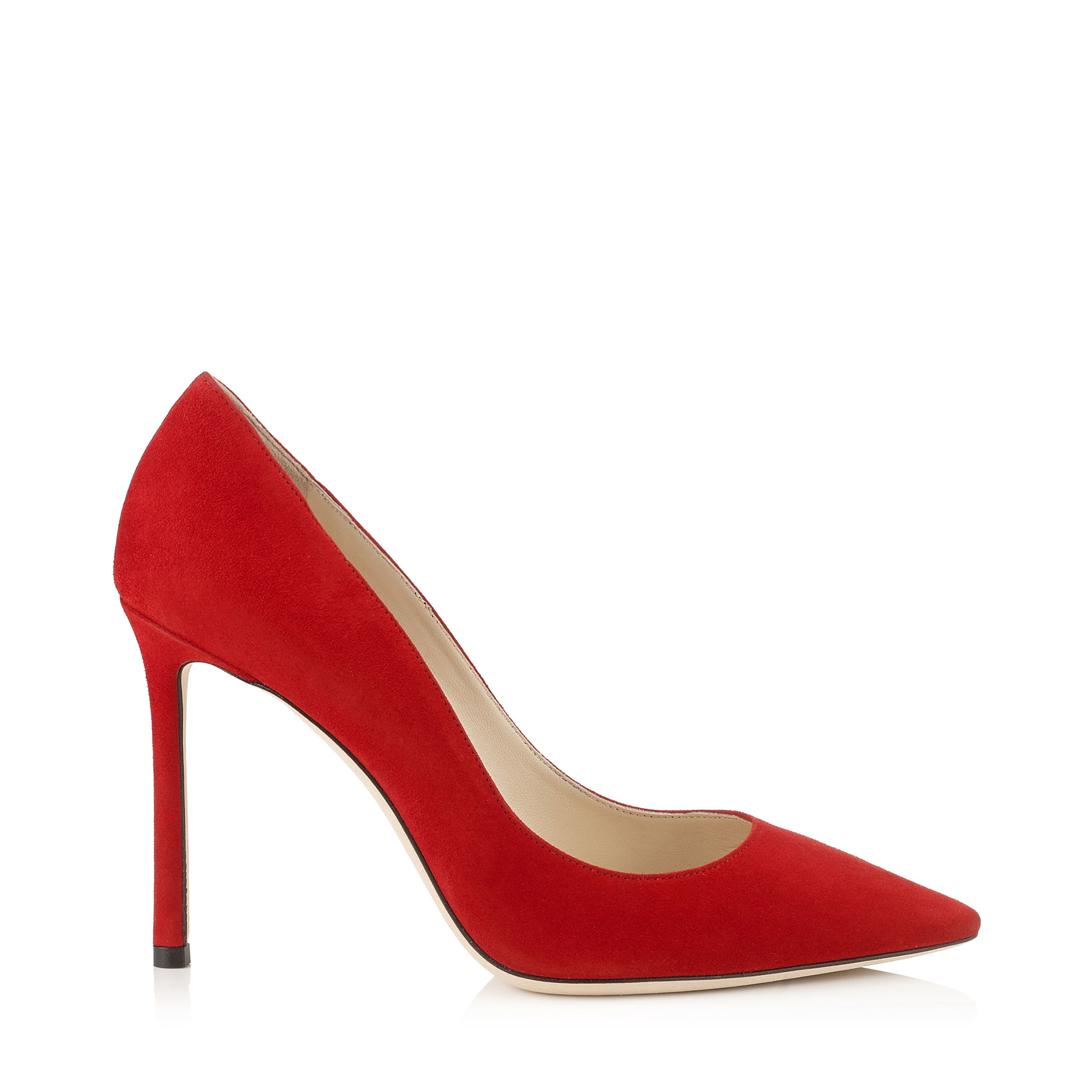 ROMY 100 Red Suede Pointy Toe Pumps by Jimmy Choo