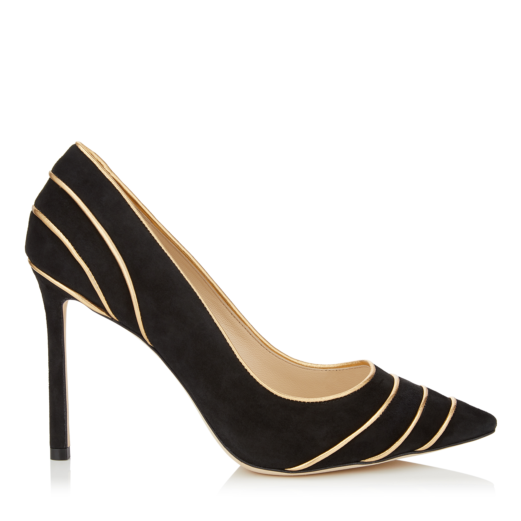 ROMY 100 Black Suede Pointy Toe Pumps with Gold Metallic Nappa Leather Piping by Jimmy Choo