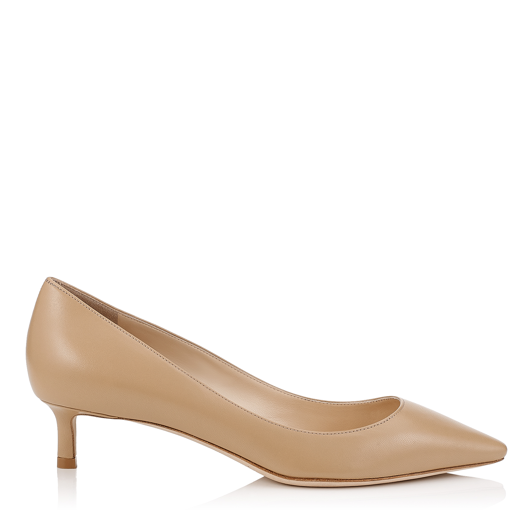 ROMY 40 Nude Kid Leather Pointy Toe Pumps by Jimmy Choo