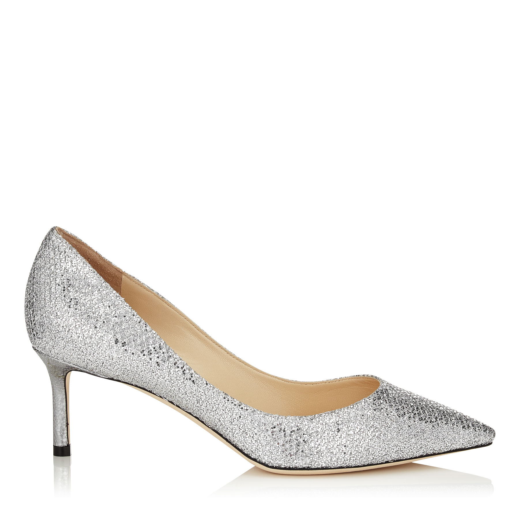 ROMY 60 Silver Glitter Fabric Pointy Toe Pumps by Jimmy Choo