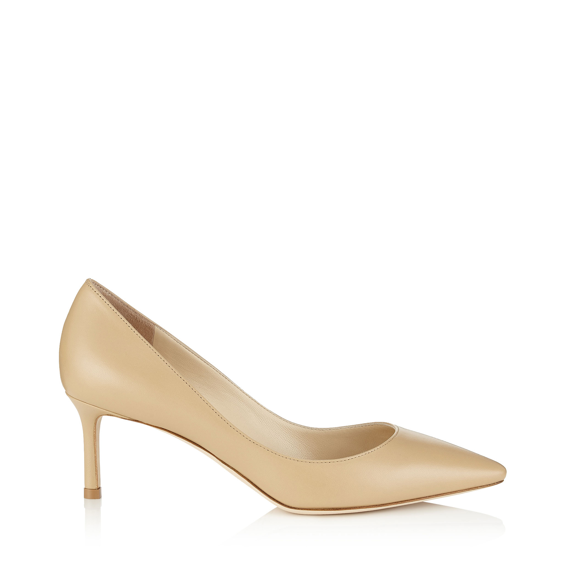 ROMY 60 Nude Kid Leather Pointy Toe Pumps by Jimmy Choo