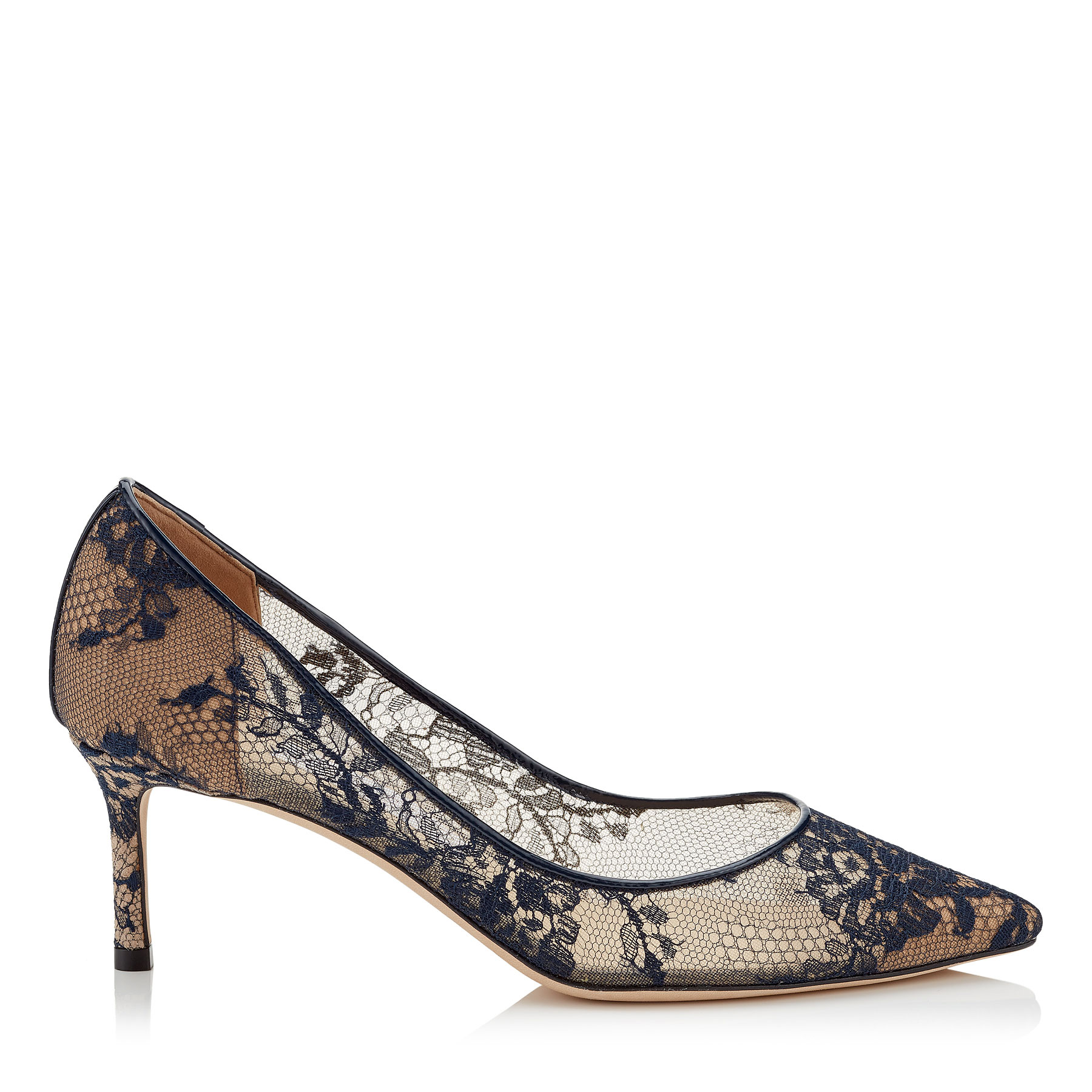 ROMY 60 Navy Lace Pointy Toe Pumps by Jimmy Choo